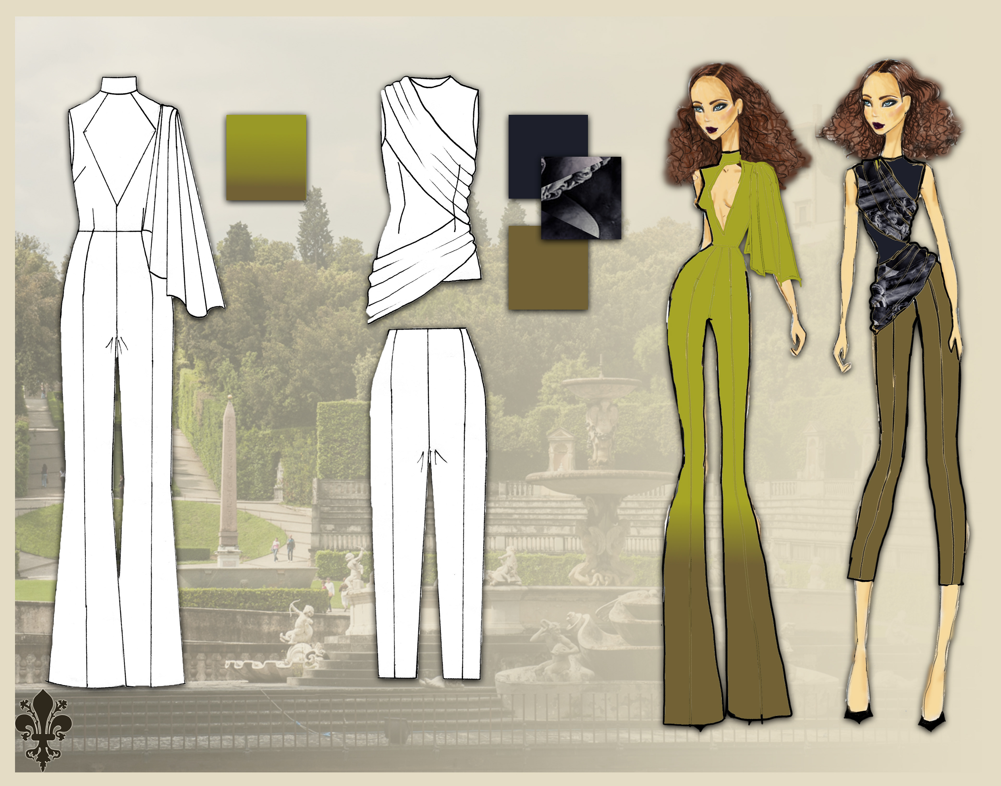 Monique Gould Spring 2018 Collection For Fashion Presentation Drawing
