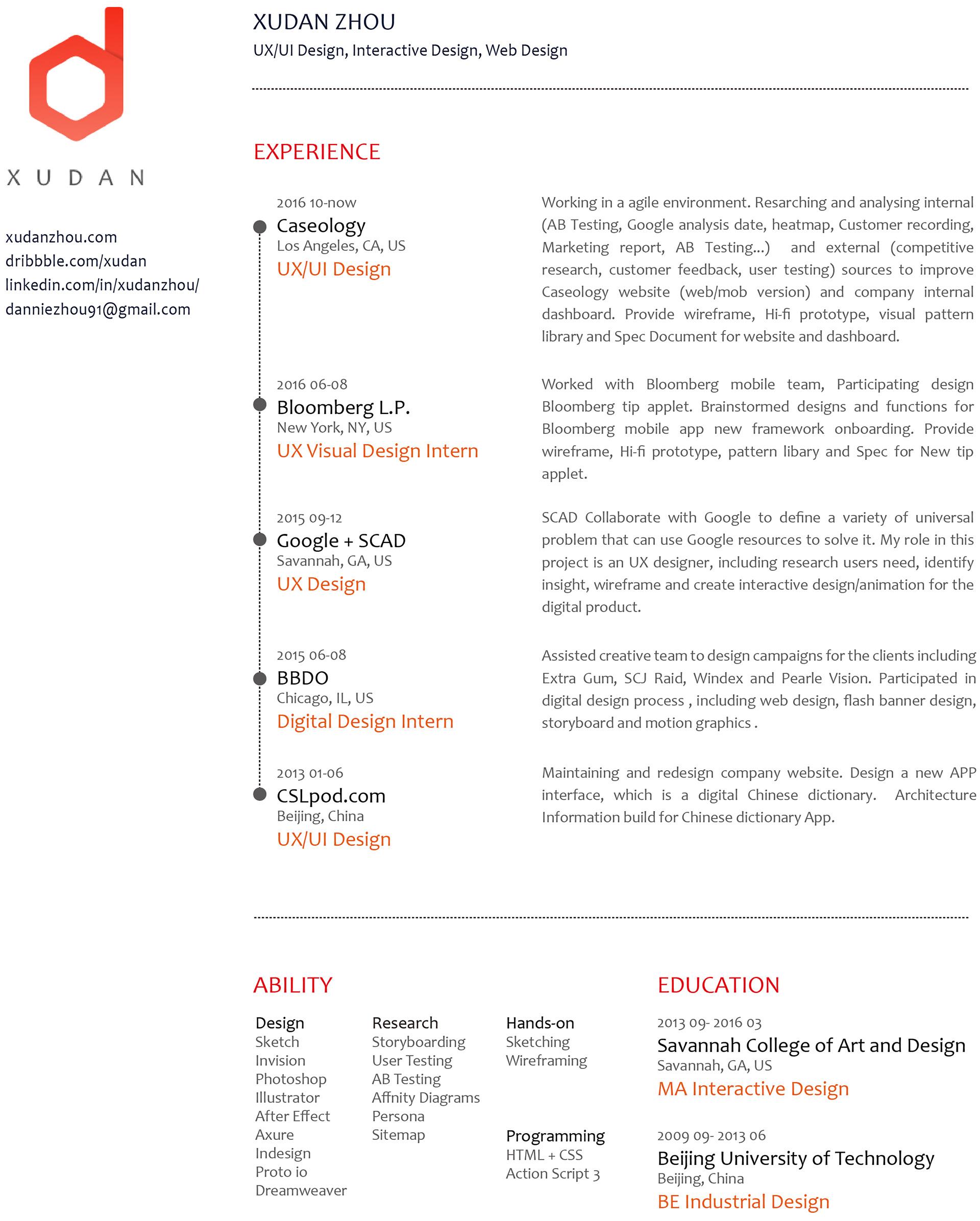 ux design resume xudan zhou design resume 87 - Ui Ux Designer Resume