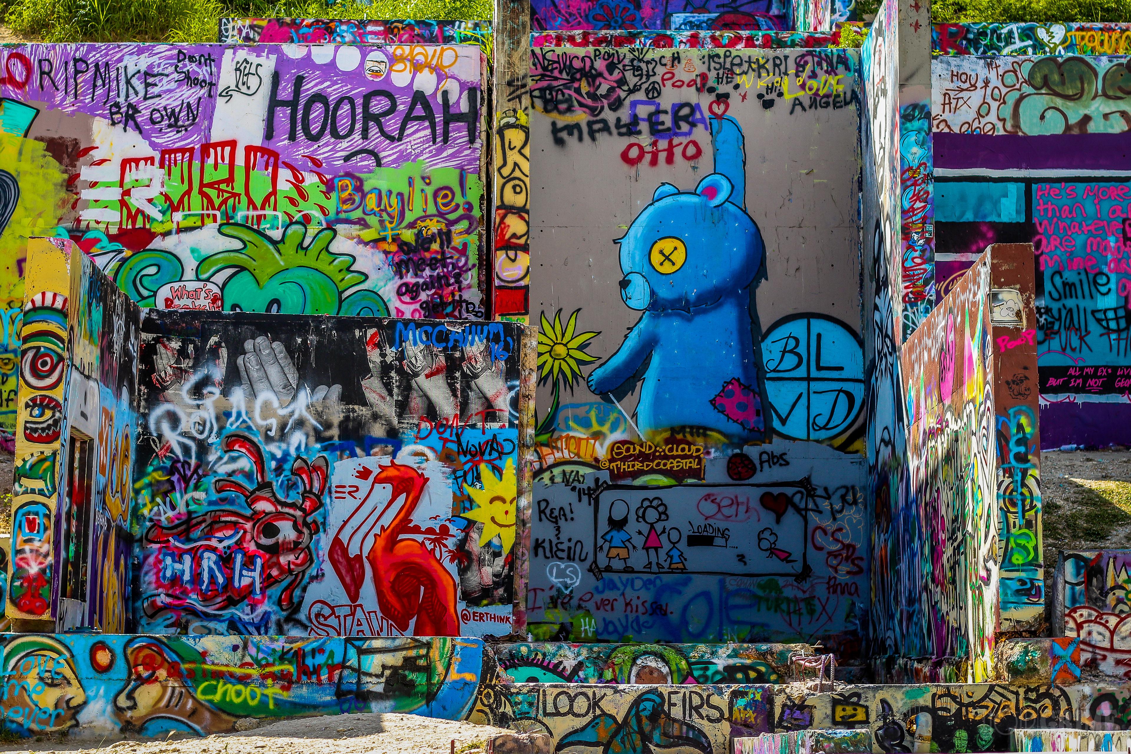 All photos were taken in austin texas at the graffiti wall