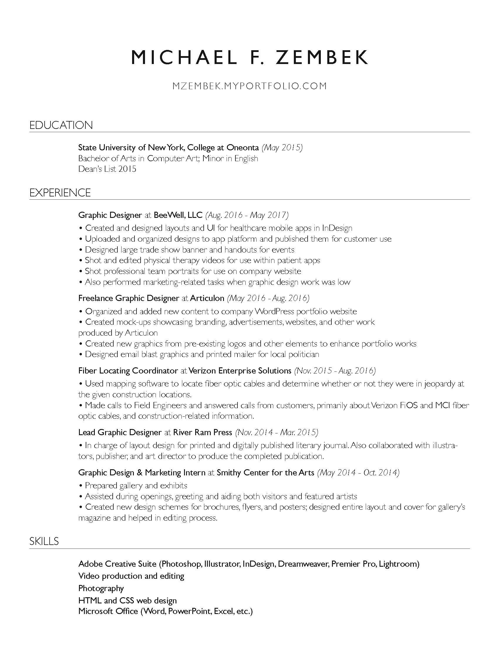Police Officer Resume Objective Excel Michael Zembek  Graphic Designer Free Easy Resume Templates Excel with Software Developer Resume Template Resume Lpn Resume Sample