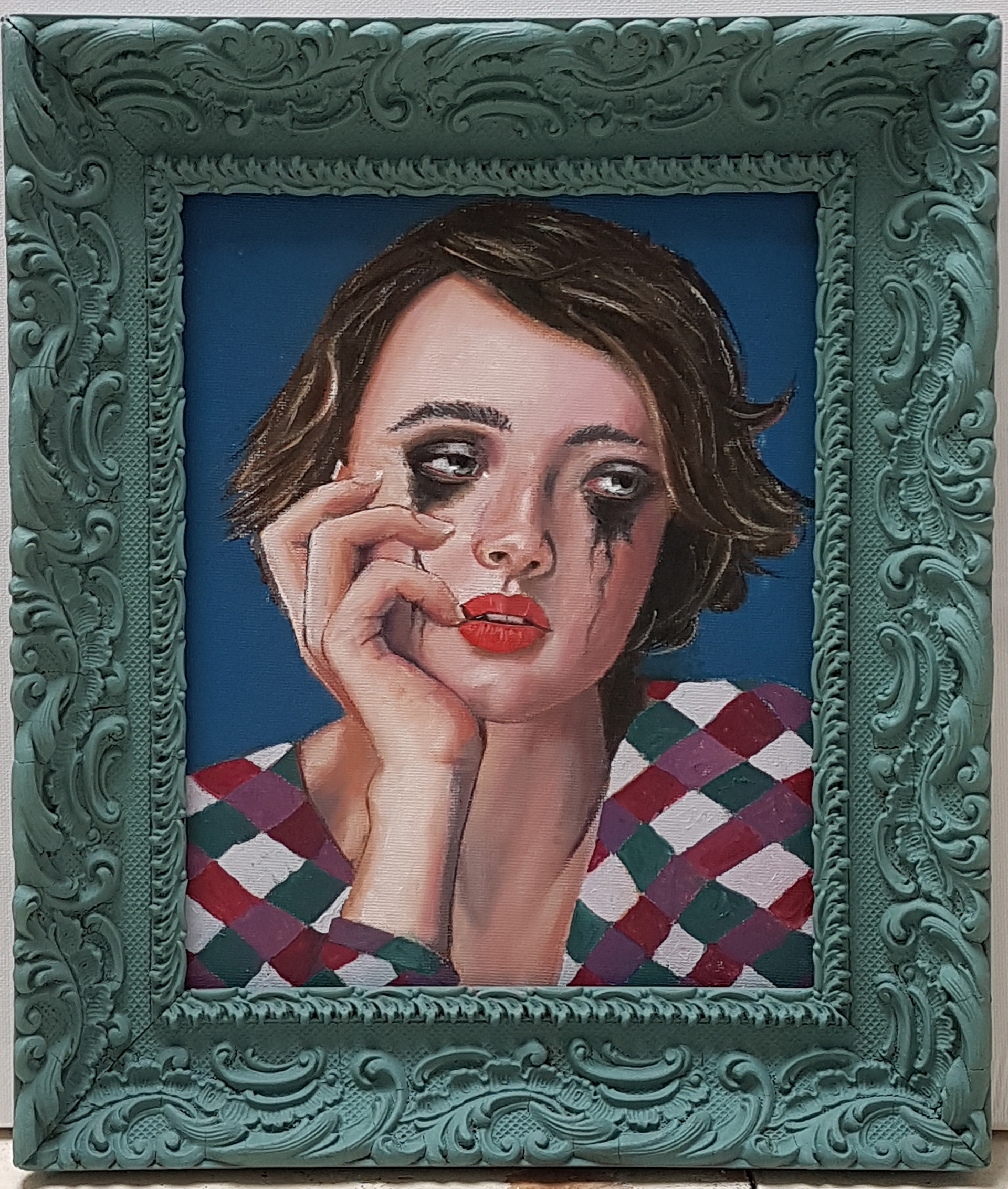 Roy Thomas - Tears of a Clown oil on board 24x20 cms