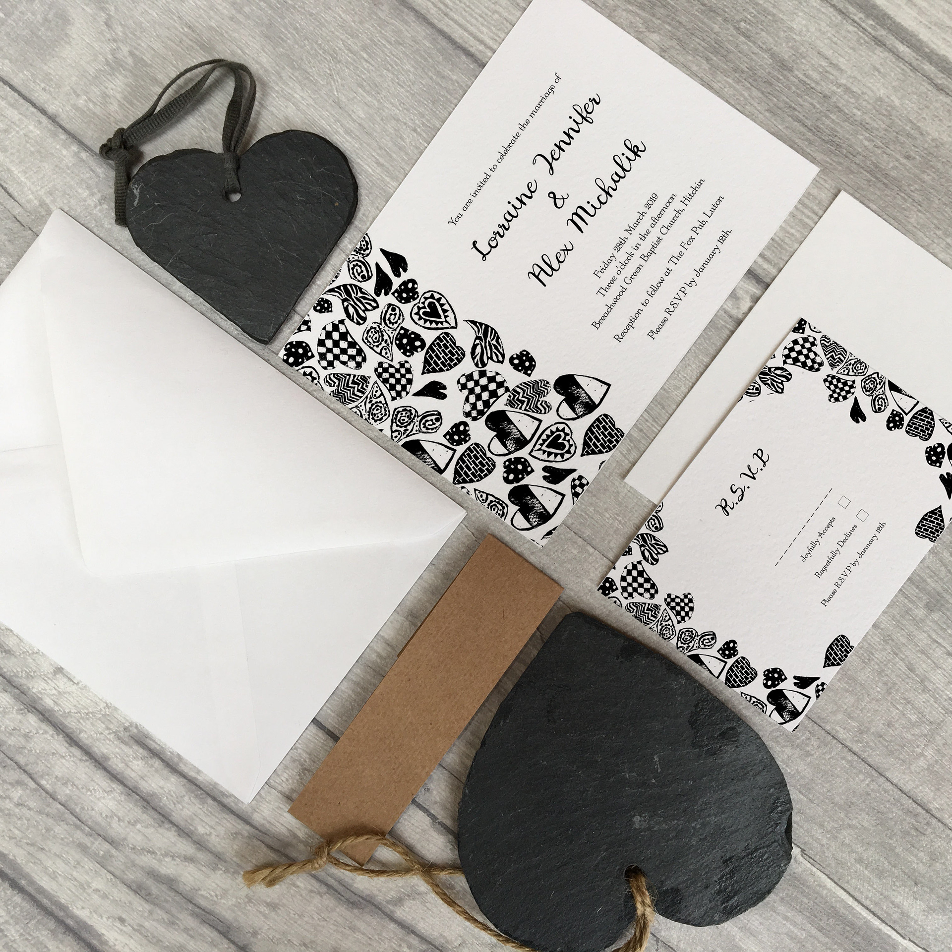 Half Pint Print - Mono Colour Hearts Invitations