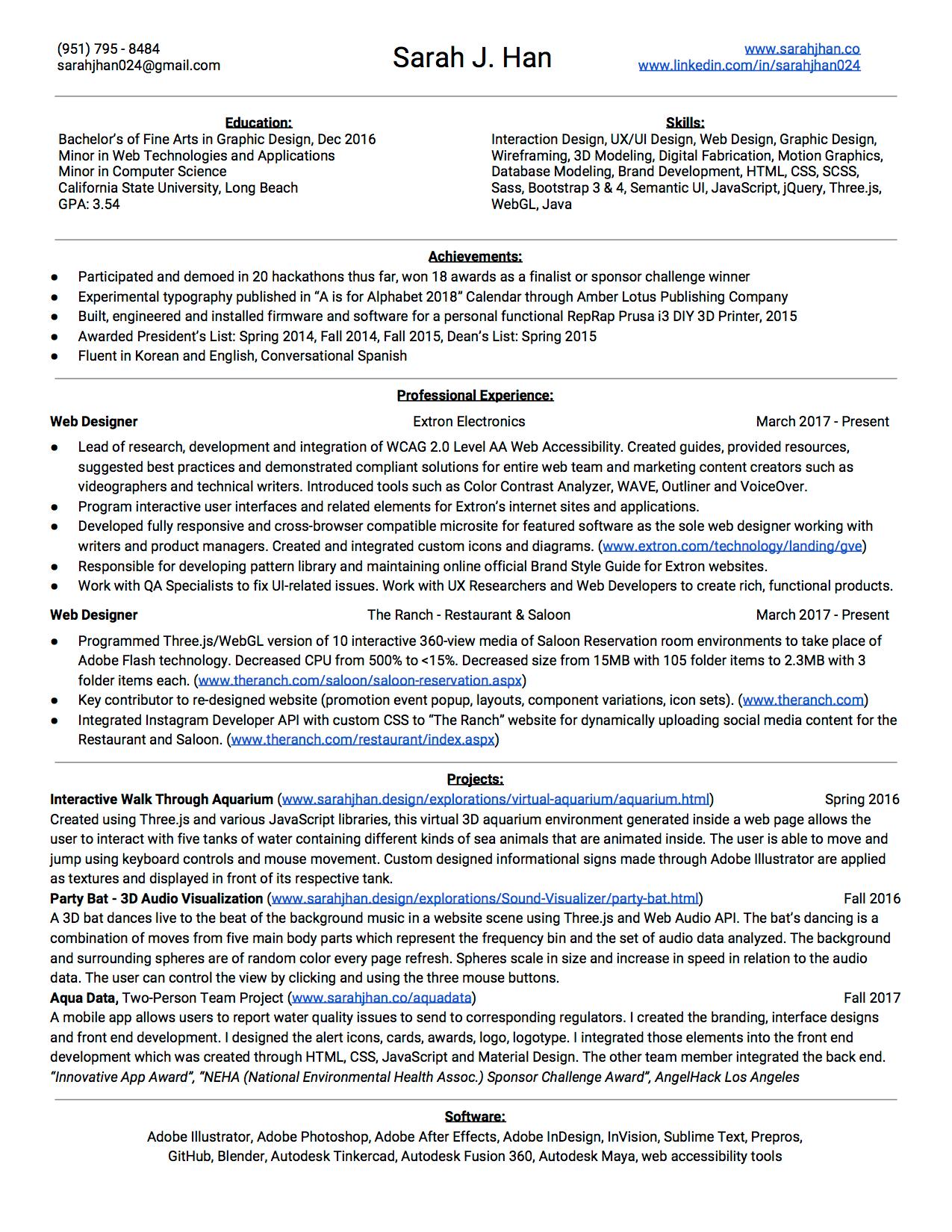 Sarah Han Portfolio Website - Resume