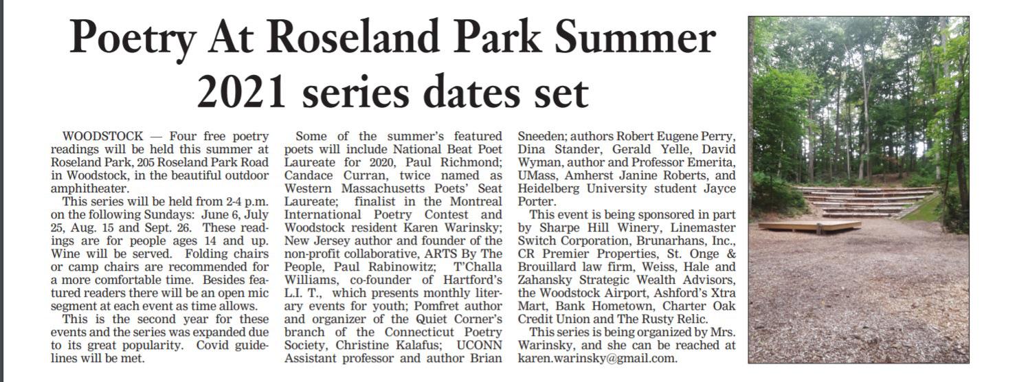 Poetry at Roseland Park @ Roseland Park