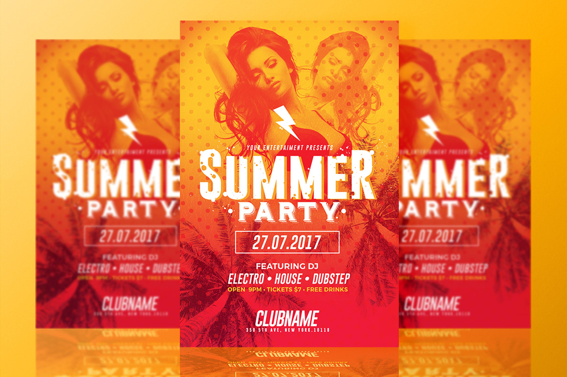 rome creation summer party flyer templates