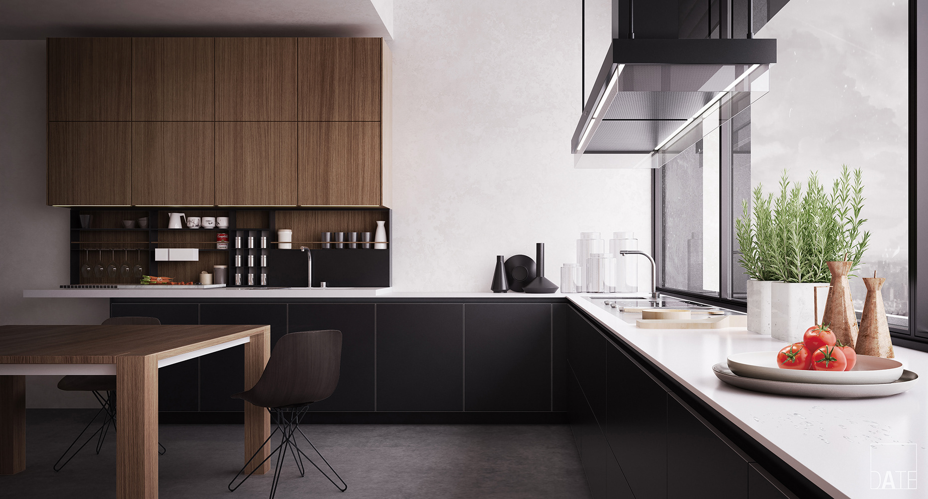 Poliform Kitchen Design.  kitchen design by Poliform Varenna black mat base units and tall wall without handles in elm Done SketchUp conjunction with V Ray Chaos DATE 3D Architectural Visualization Twelve