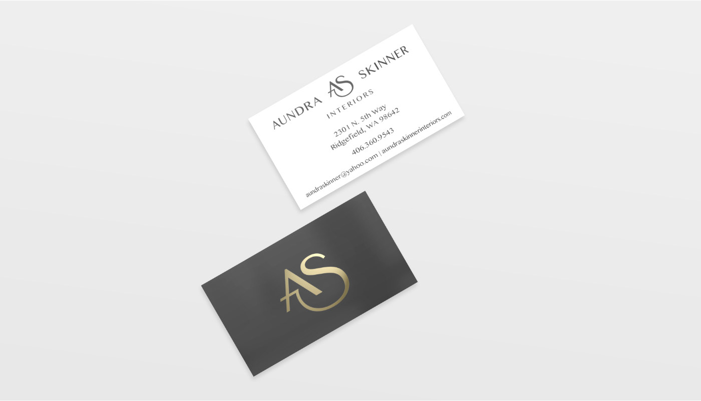 Kyle chicoine graphic designer gray and gold were used as the brand colors and gold foil was used on aundras new business cards the as monogram in gold foil on the back of her cards on magicingreecefo Images