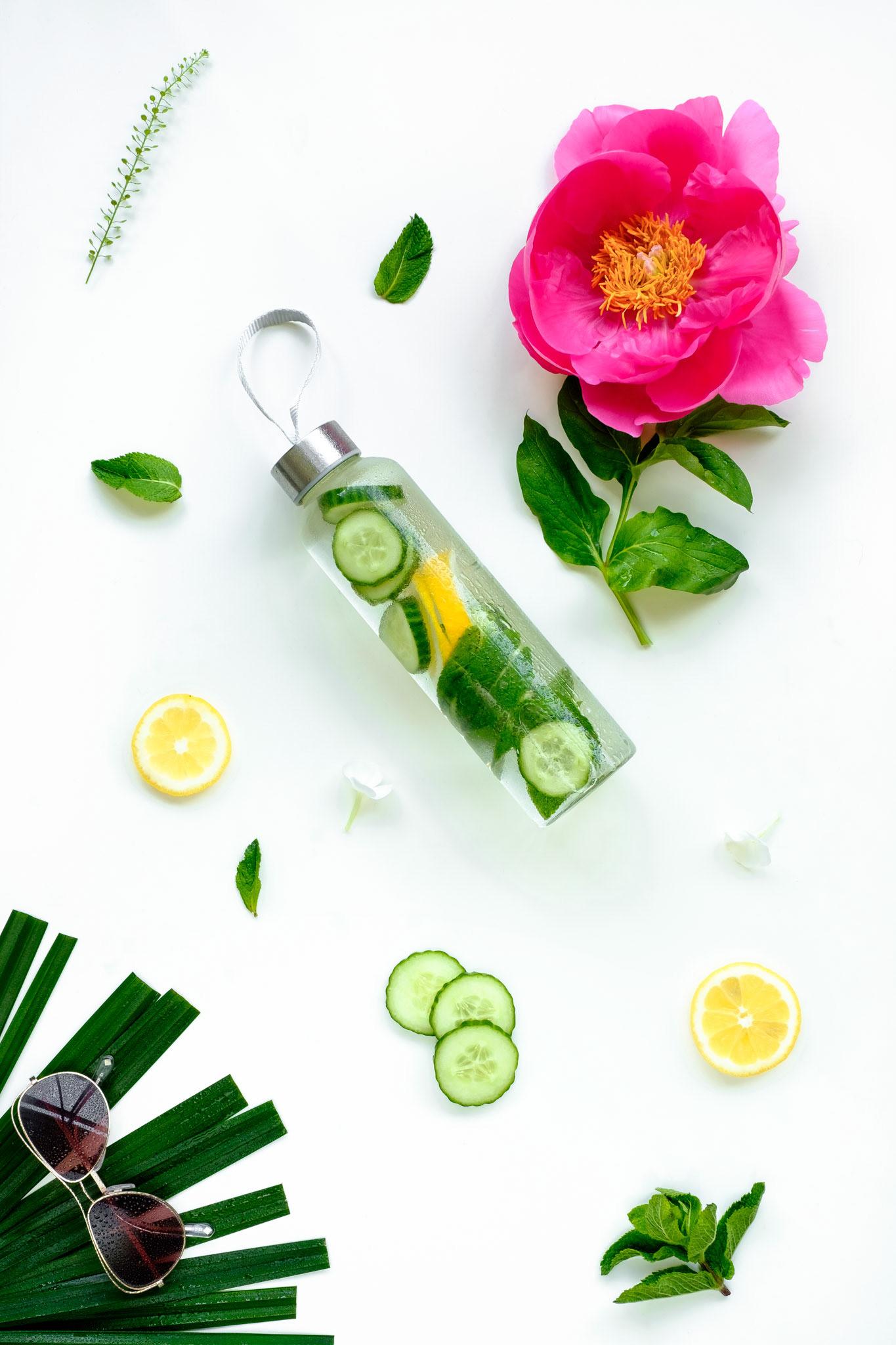 Cucumber and lemon water