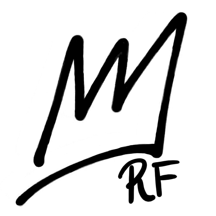 "Black hand drawn crown with initials of ""RF"""