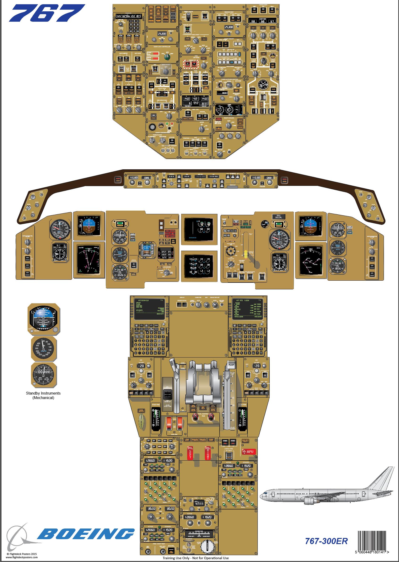 Glyn Chadwick  Boeing    767   300ER Cockpit    Diagram