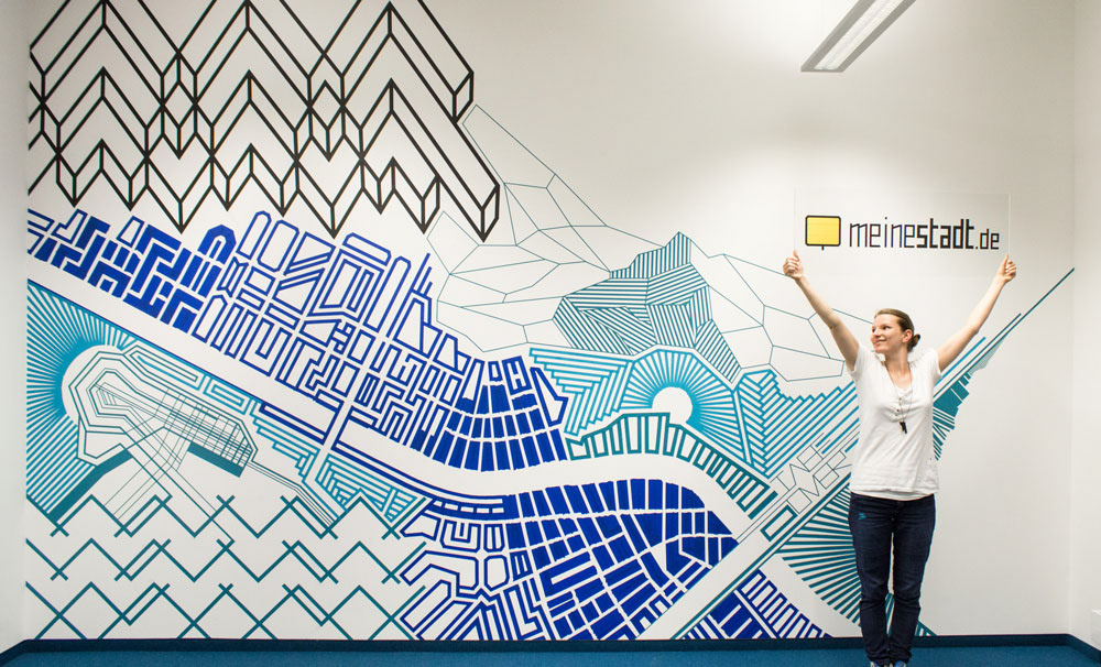 Tape art created by tape over international tape art crew wall im sommer 2015 haben wir diese 5x3m groe wand mit einem abstrakten tape art mural gestaltet dieses kunstwerk aus klebeband trgt den titel blueprint malvernweather Image collections