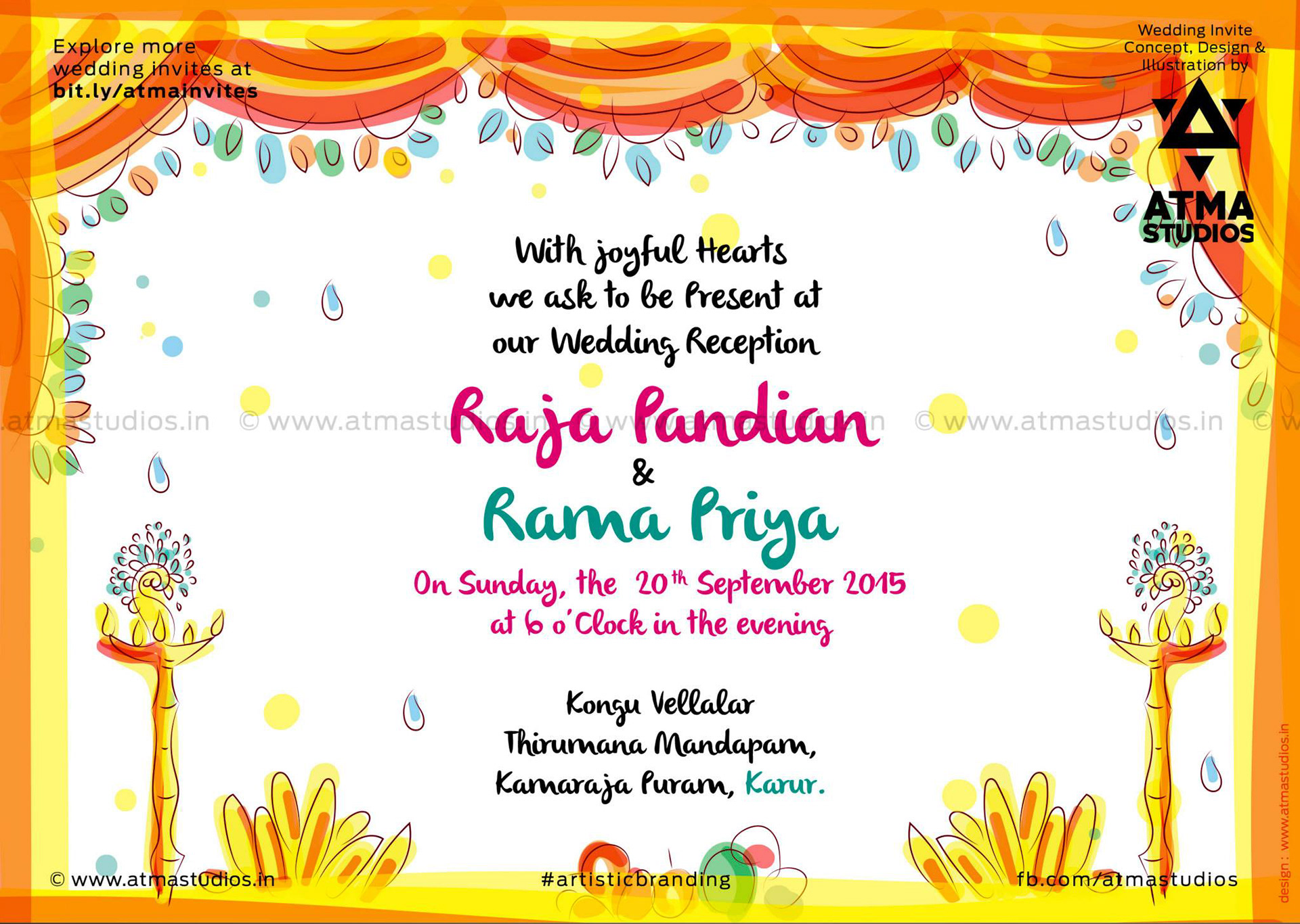 Scd balaji quirky creative indian wedding invitations quirky size a5 front back card card cover gsm 300 cover card lamination glossy lamination rs 50 per card rs 15 per cover stopboris Images