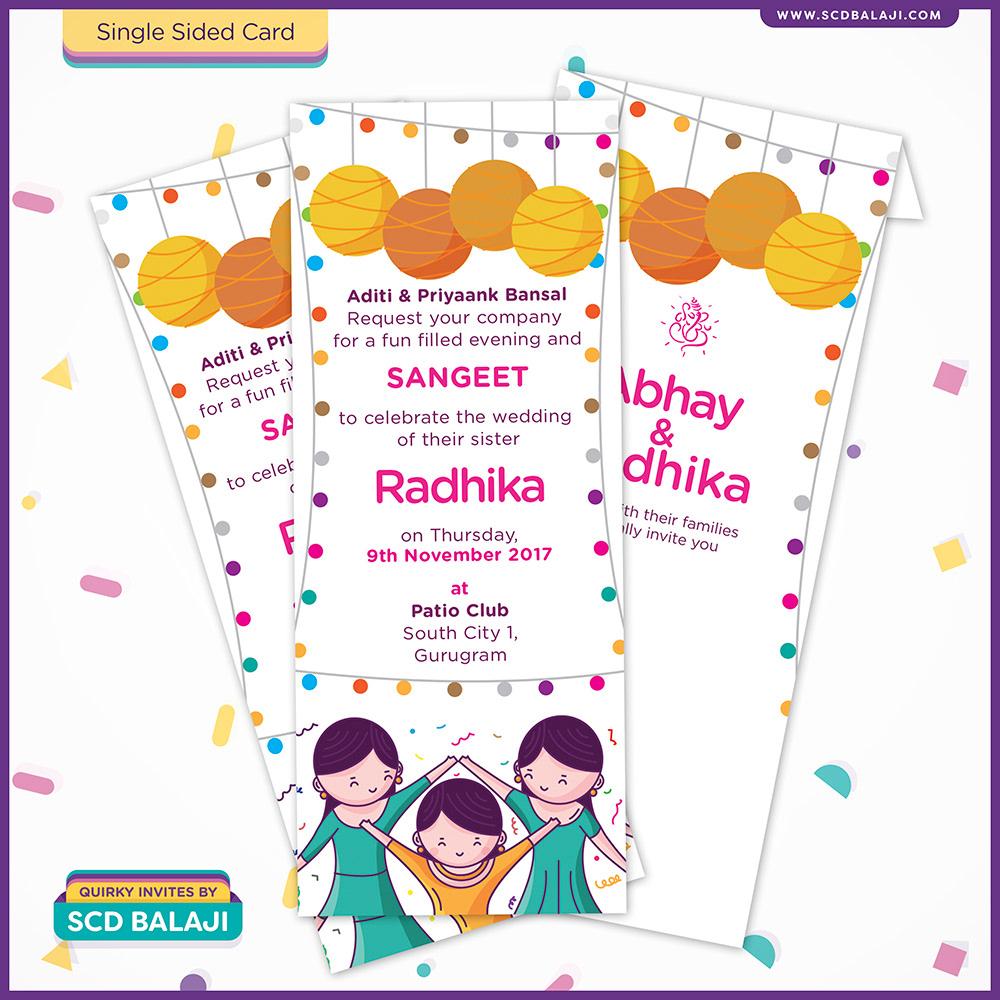 Quirky creative indian wedding invitations ladies sangeet card 350 gsm board glossy lamination stopboris Choice Image