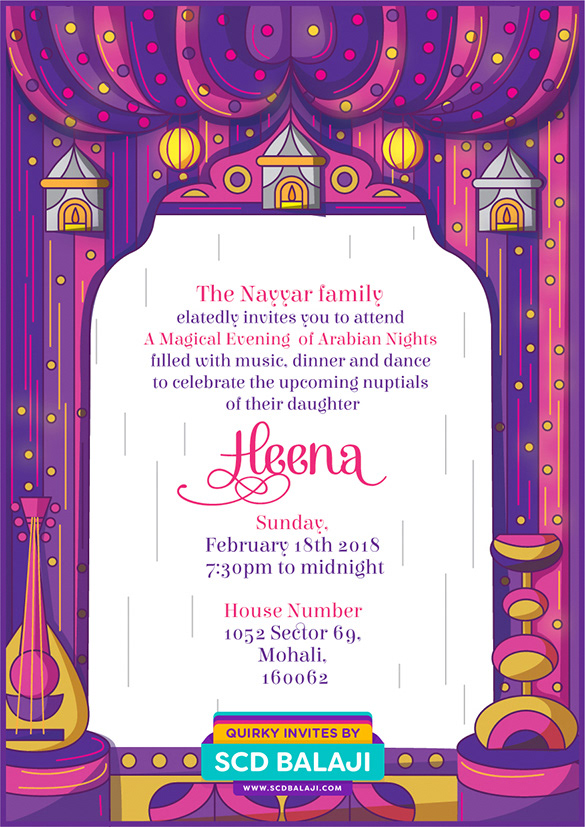 Quirky creative indian wedding invitations contemporary indian sangeet invitation illustration back side of the card stopboris Images