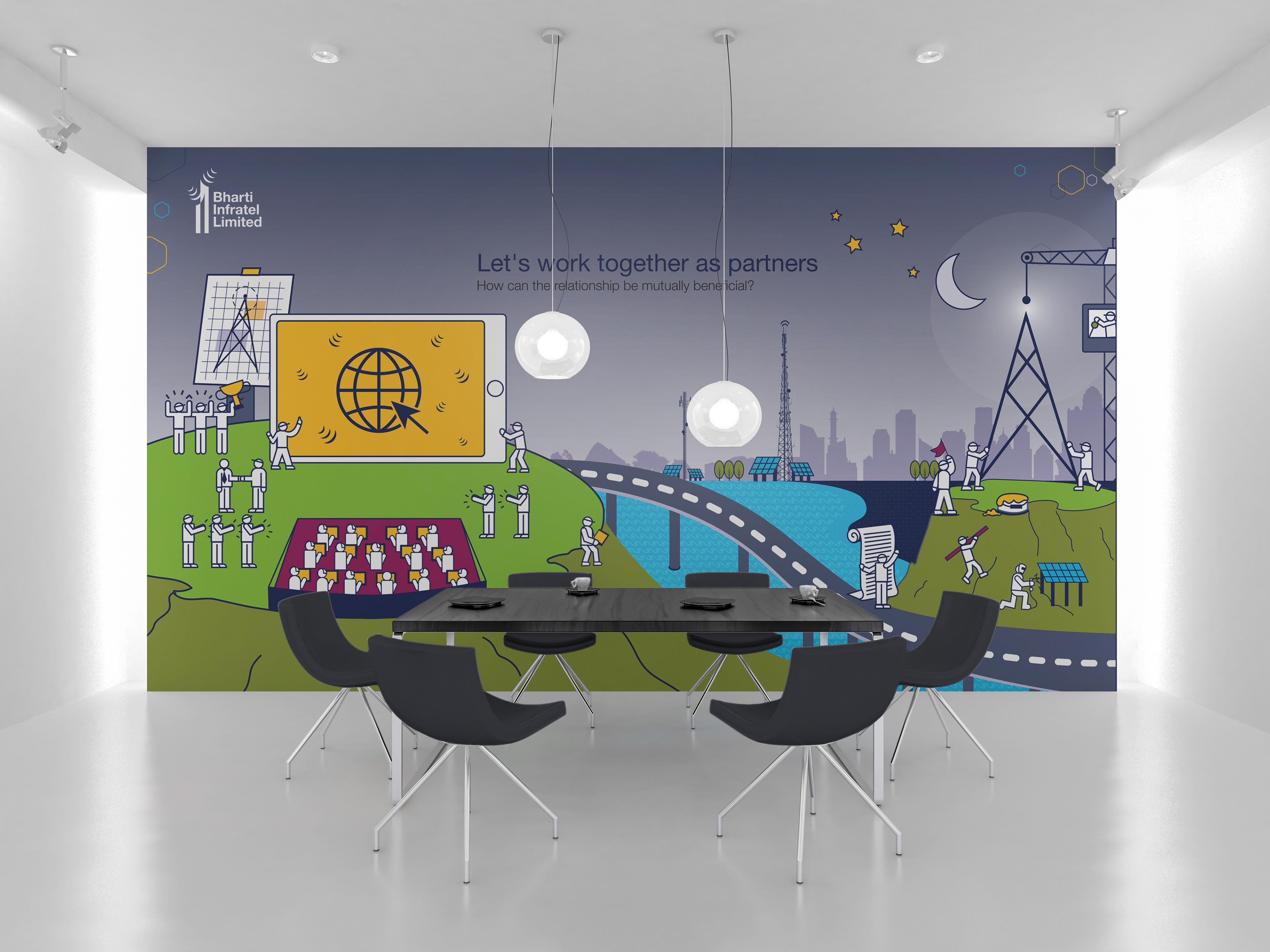 office graphic design. 2016: Interior Graphics For Bharti Infratel Ltd. Offices. Office Graphic Design