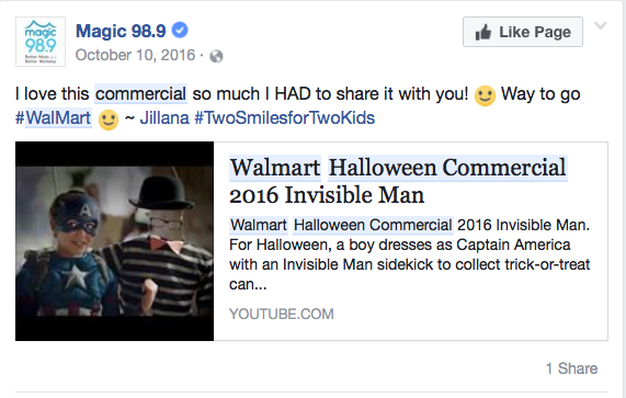 the internet showed some love - Walmart Halloween Commercial
