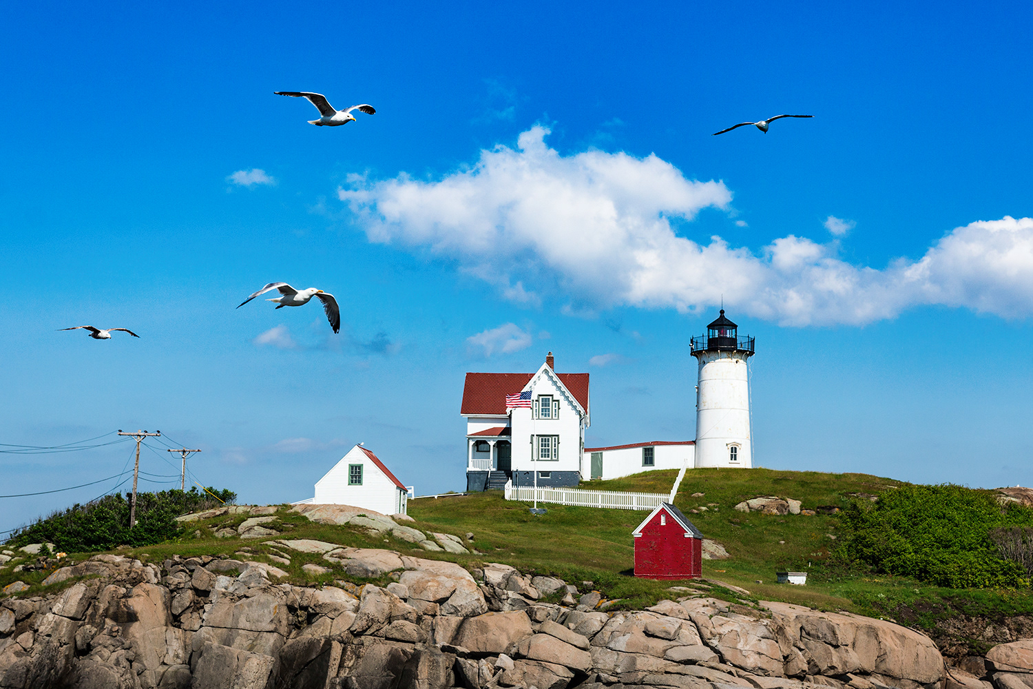Barry Wills - York County Maine map with Nubble Lighthouse