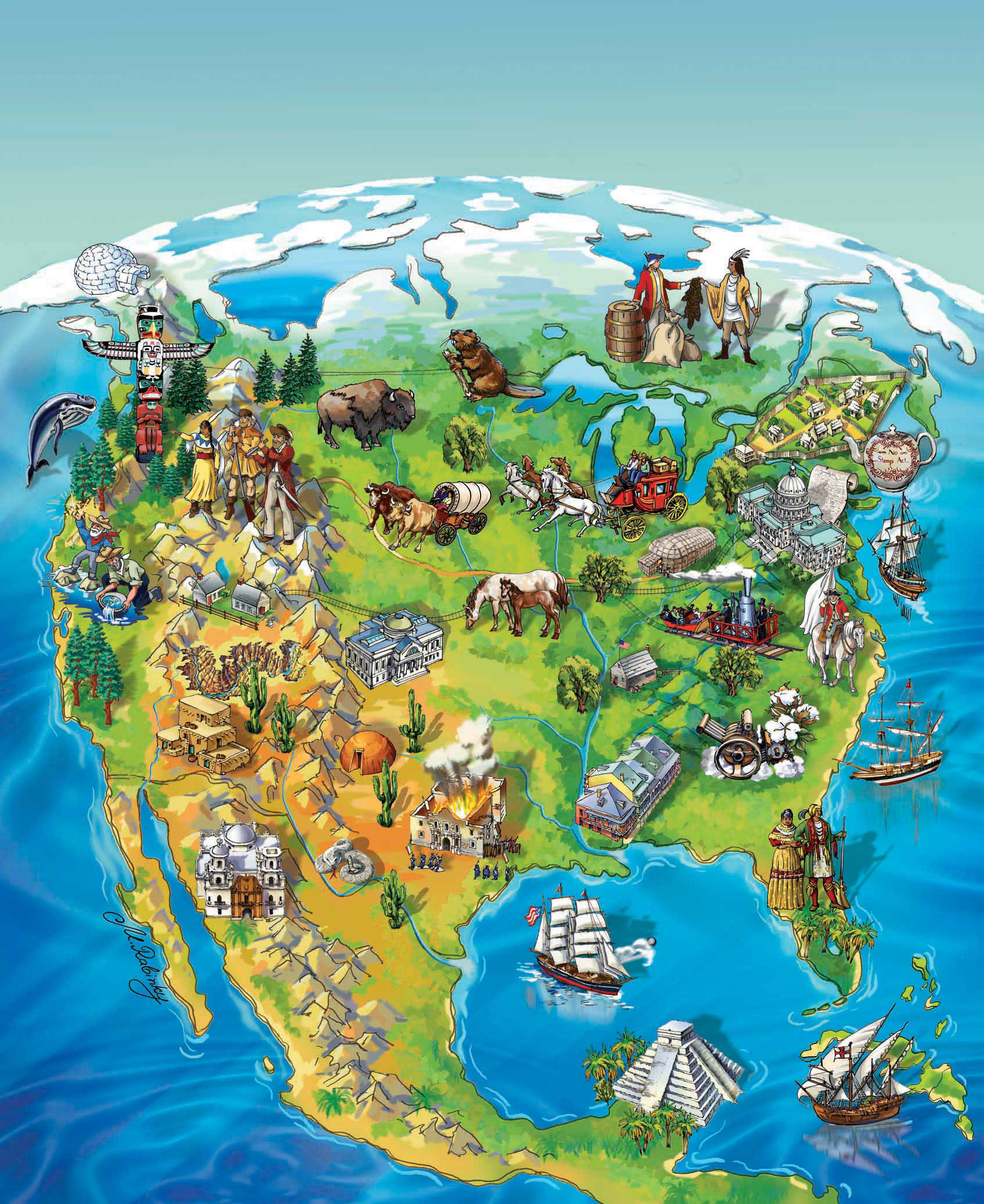 illustrated map for social studies book cover for 5th grade