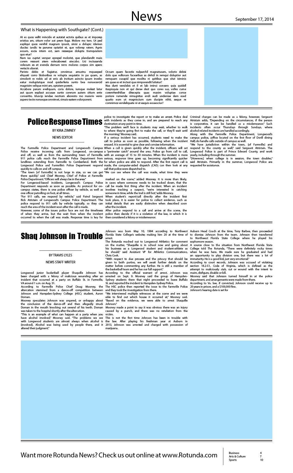 zane creative freelance designer - rotunda newspaper layout