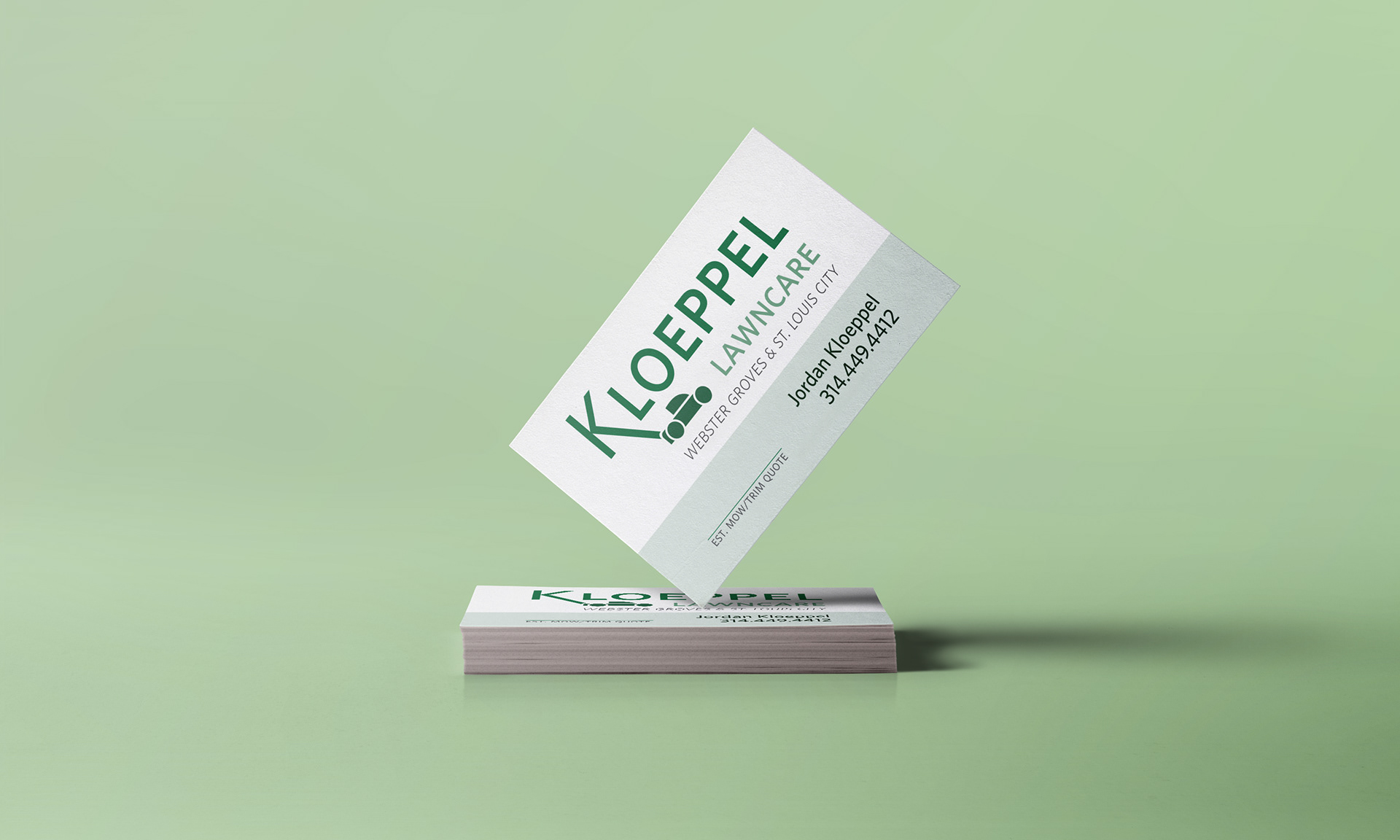 Jordan richter kloeppel lawncare branding kloeppels lawncare business operating out of st louis business cards were the main focus for the project although yard signs and other promotional colourmoves