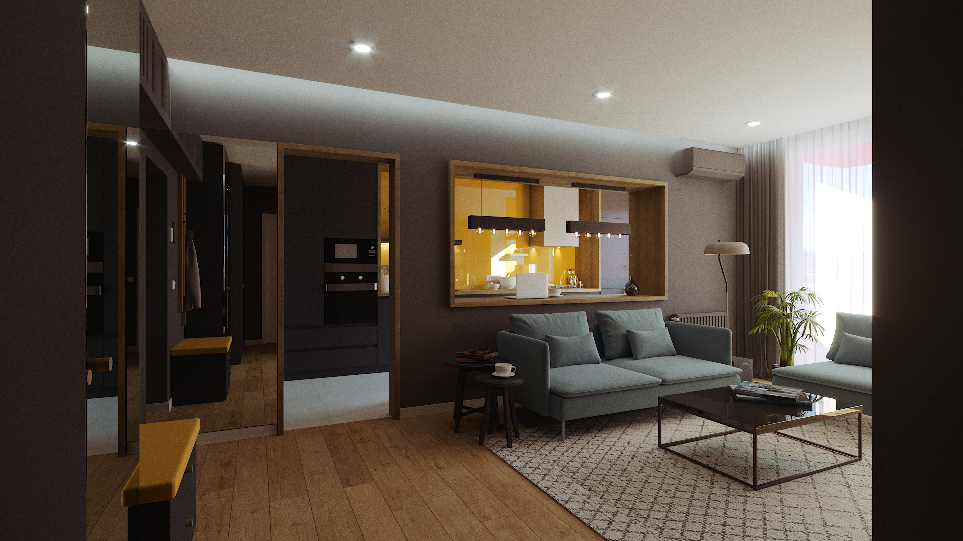 Dark tones in this elegant 2 room apartment bathed in natural light while also keeping it cosy and welcoming through the use of wood finishes