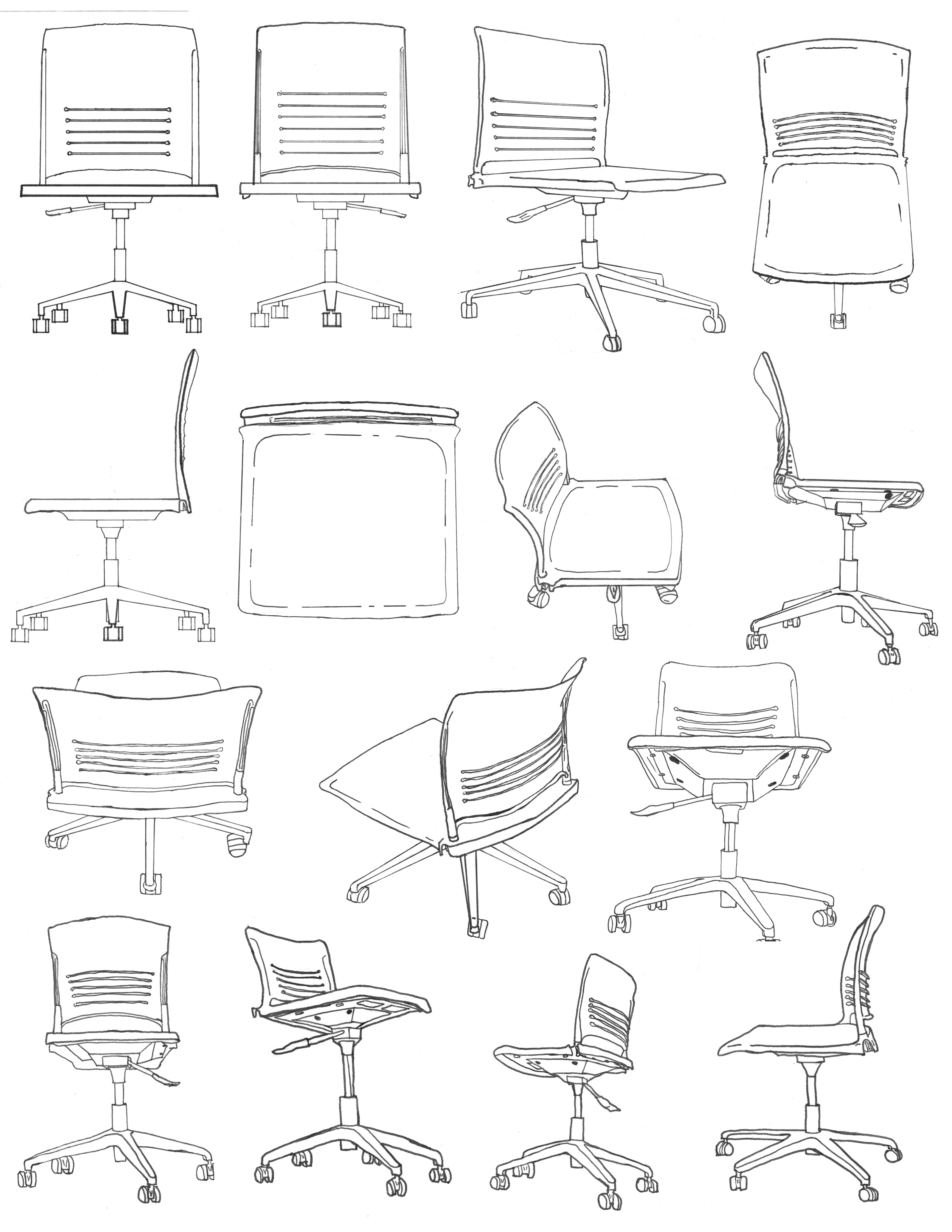 Office furniture design sketches - Office Chair Sketches