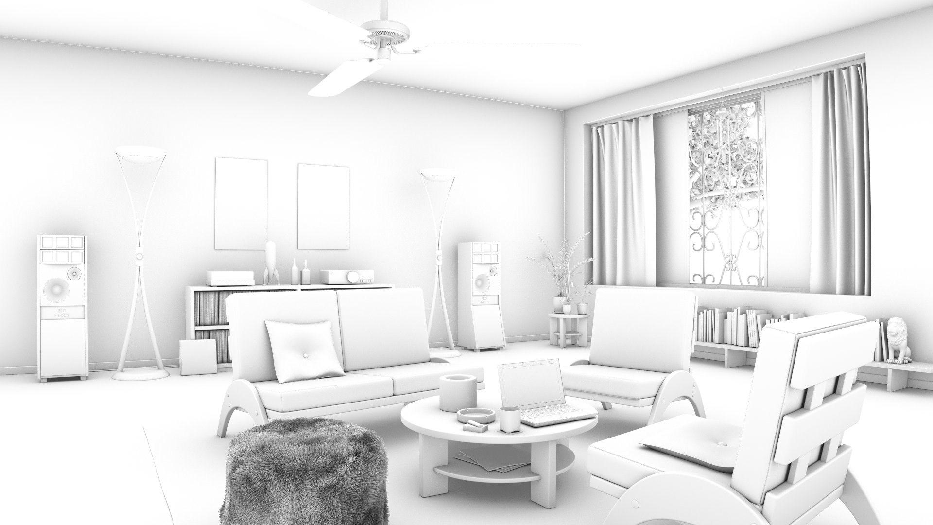 CG LION Studio Portfolio - Retro living-room - day & night