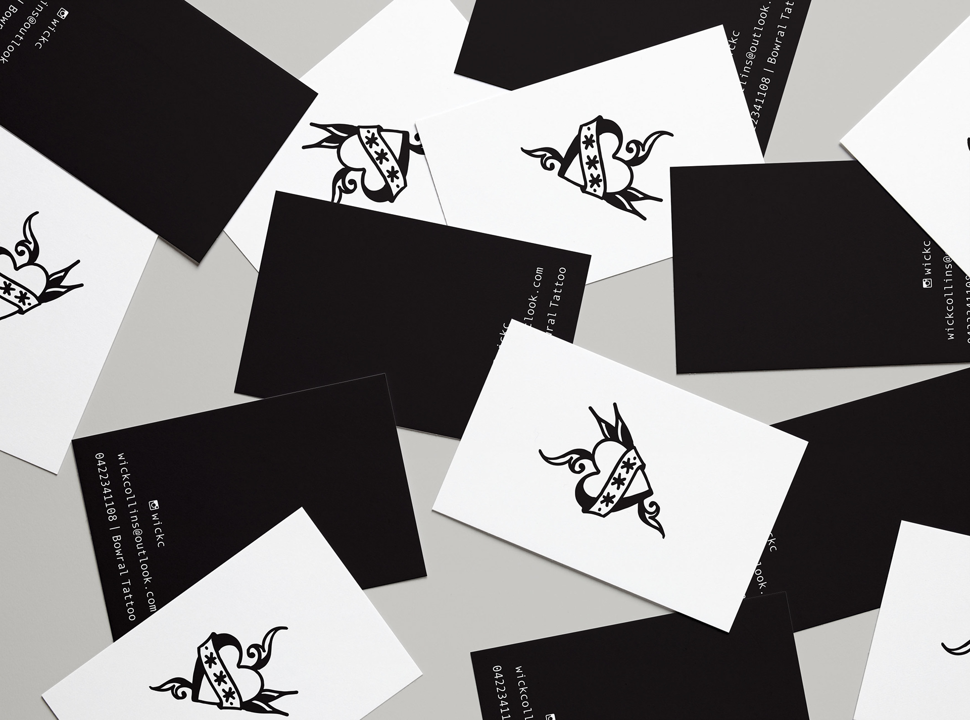 Kat turner katco creative wickc tattoo business cards convention banner and monogram flash sheet stamp for tattoo artist wick collins magicingreecefo Image collections