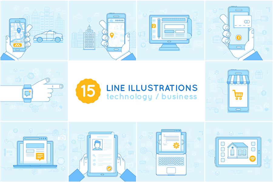 Nina Magradze - Blue Line Icons and Illustrations