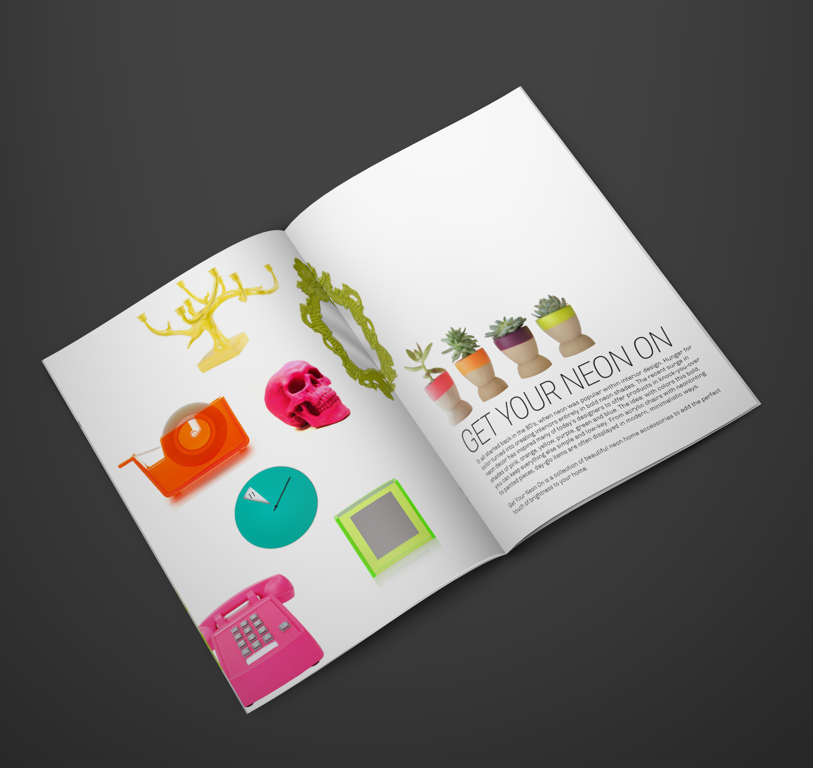 kambree bakaitis get your neon on is a fictional home decor catalog specializing in bright and colorful home decor organized by color this catalog helps buyers add a