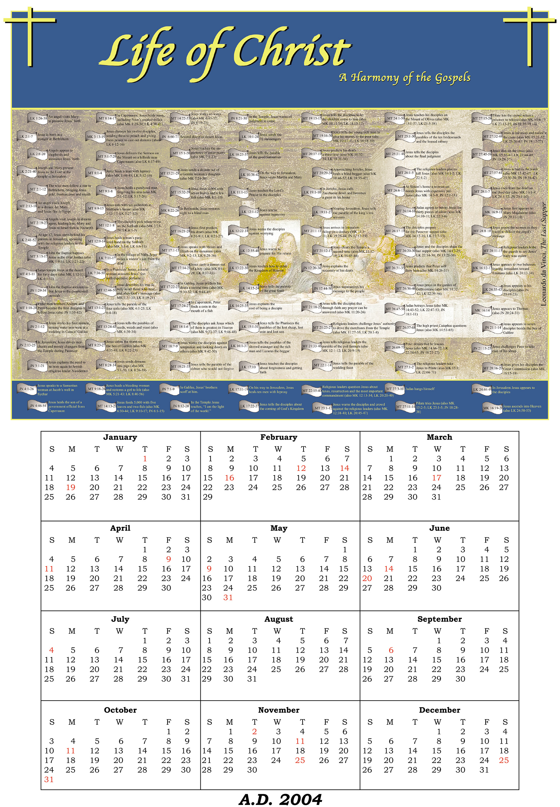 Jim Kestner - Design Sample - Life of Christ Calendar
