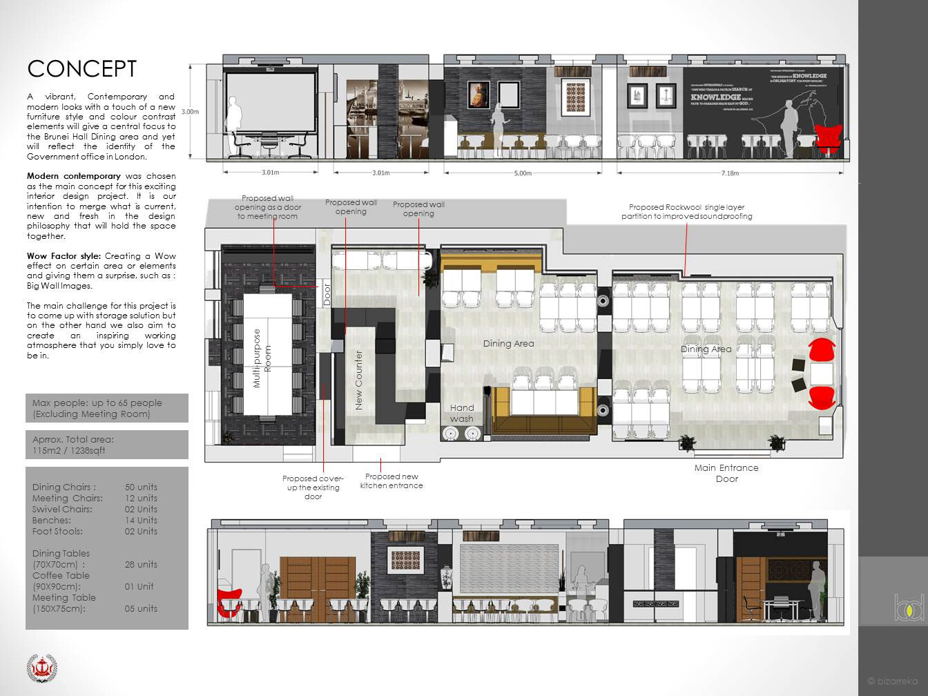 Proposed interior design for brunei hall in london