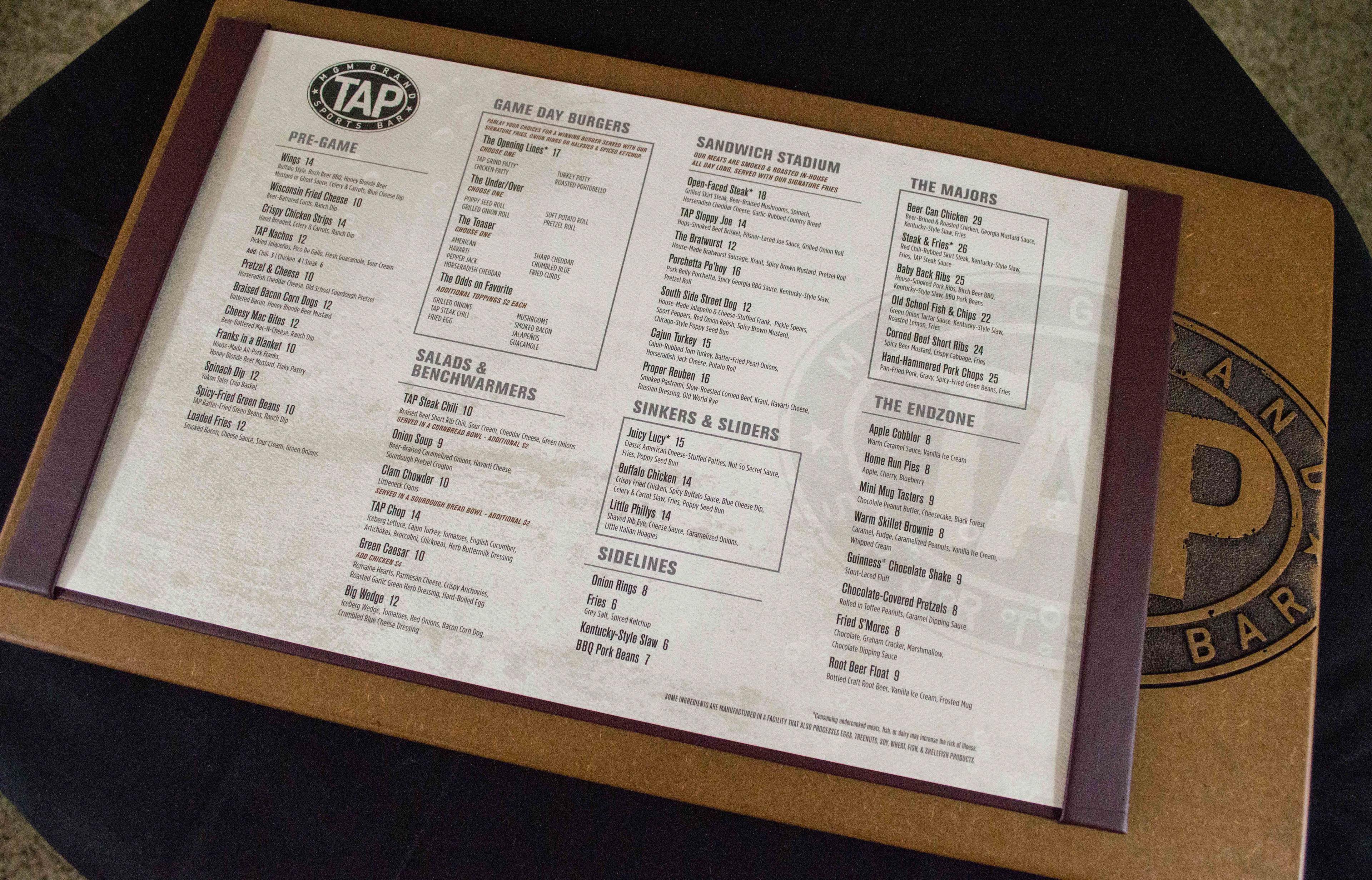 mike pond - tap sport bar menu design mgm grand las vegas