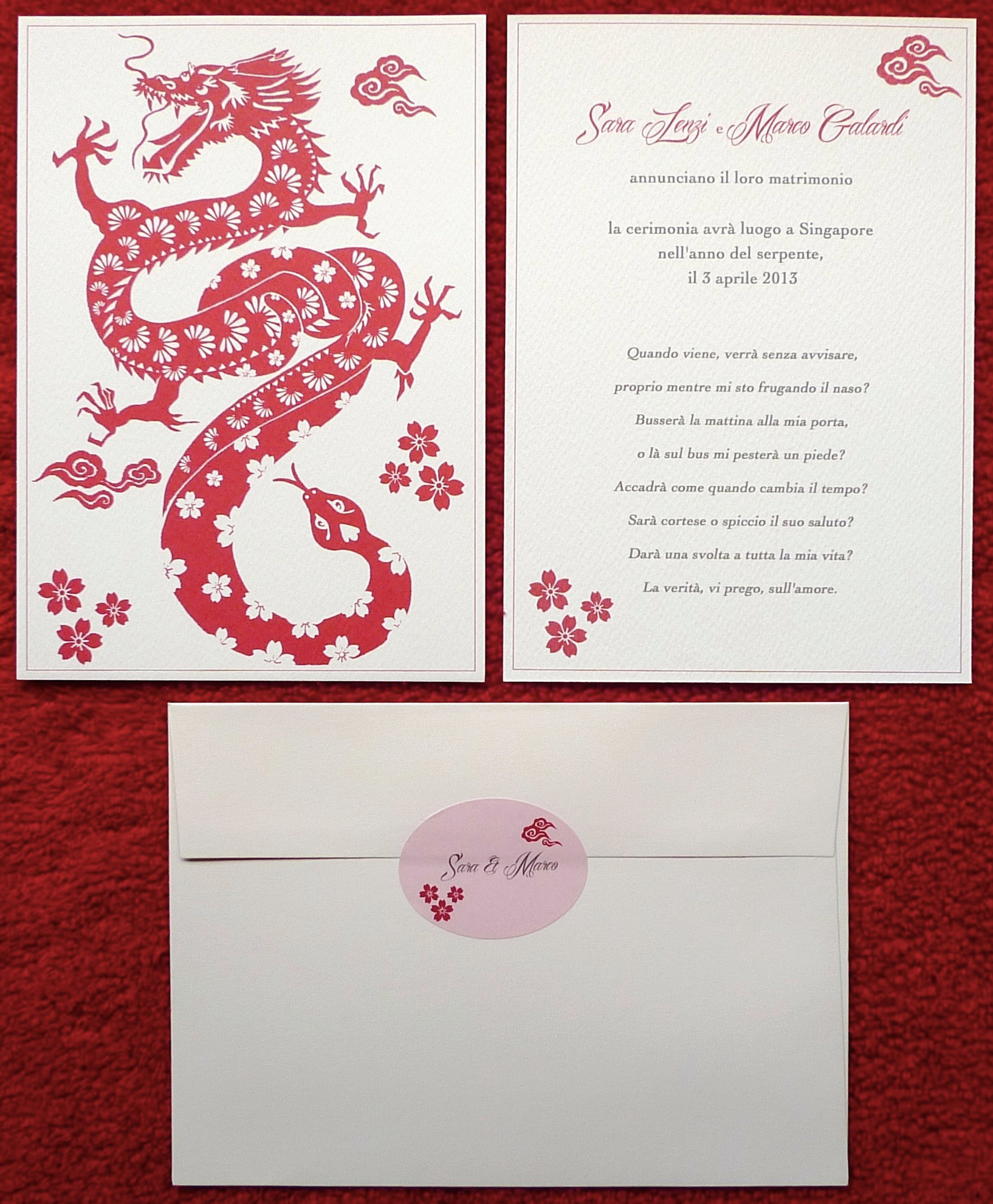 Ka Lo Chu - Dragon Meets Snake Wedding Invitation