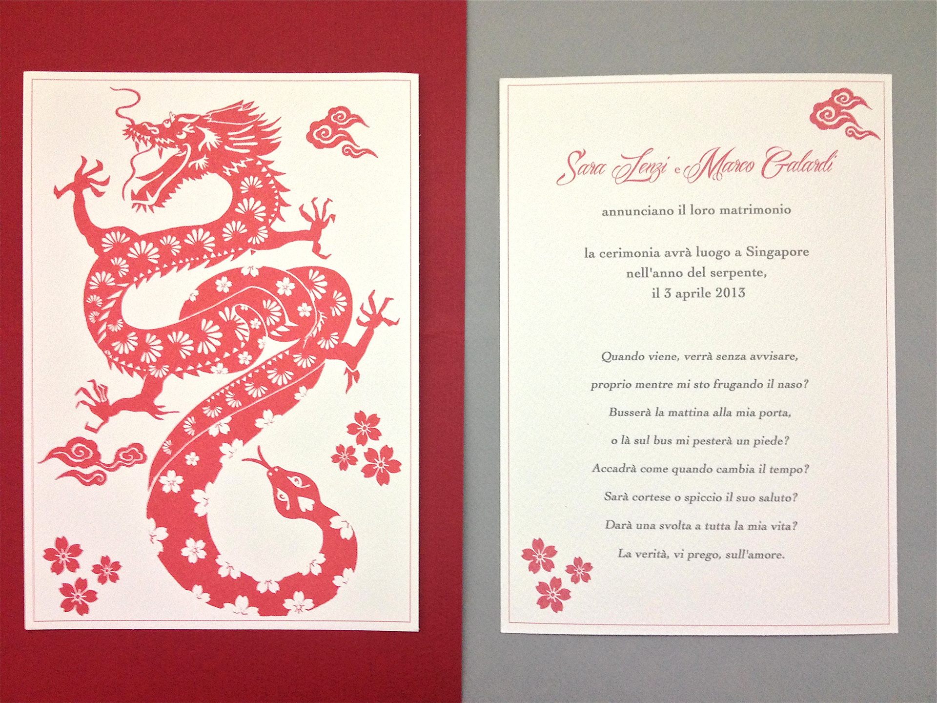 Ka Lo Chu - Dragon Meets Snake Wedding Invitation