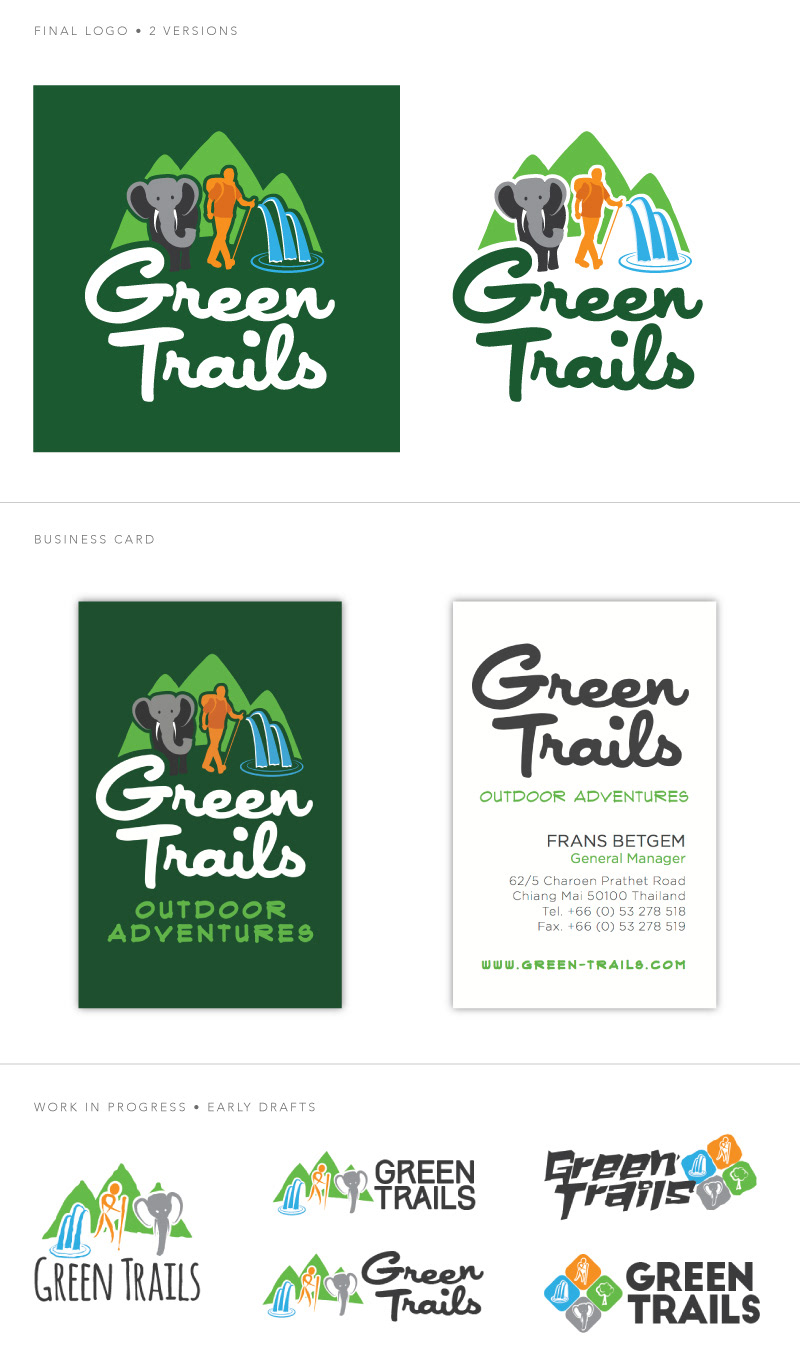 Rob royall green trails logo business card logo and business cards for green trails outdoor adventures a trekking tour company in chiang mai thailand formerly called tiger trails reheart Images