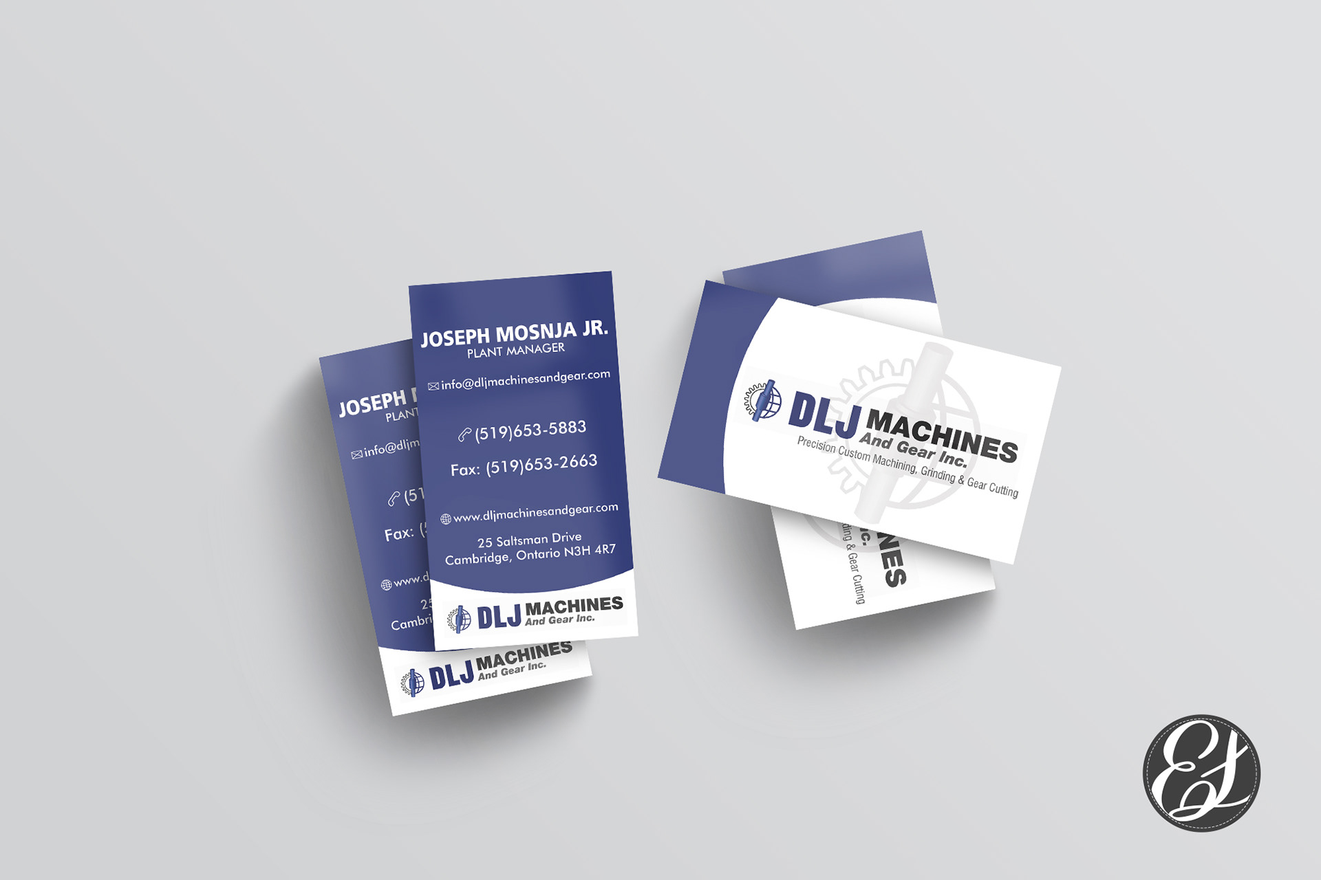 Erica Leis - DLJ Machines and Gear Company Business Card Design