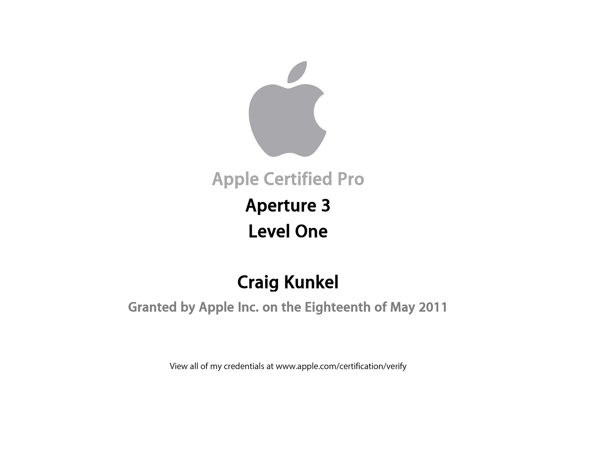 Craig Kunkel Apple Certifications