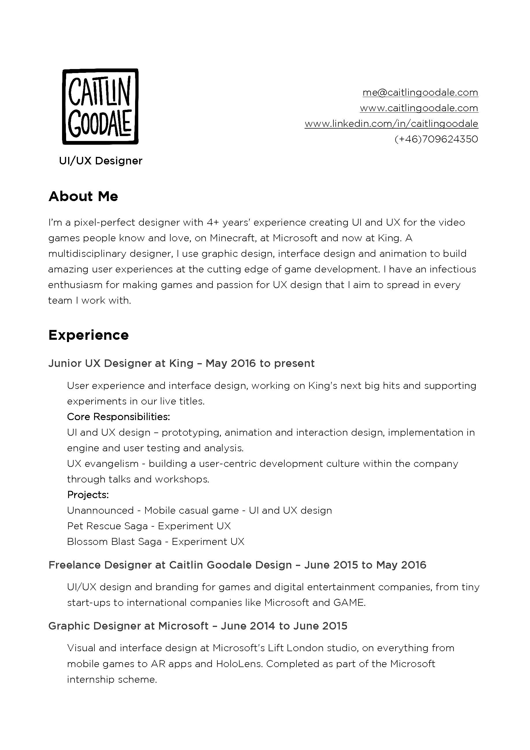Nett Ux Designer Lebenslauf Beispiel Fotos - Entry Level Resume ...