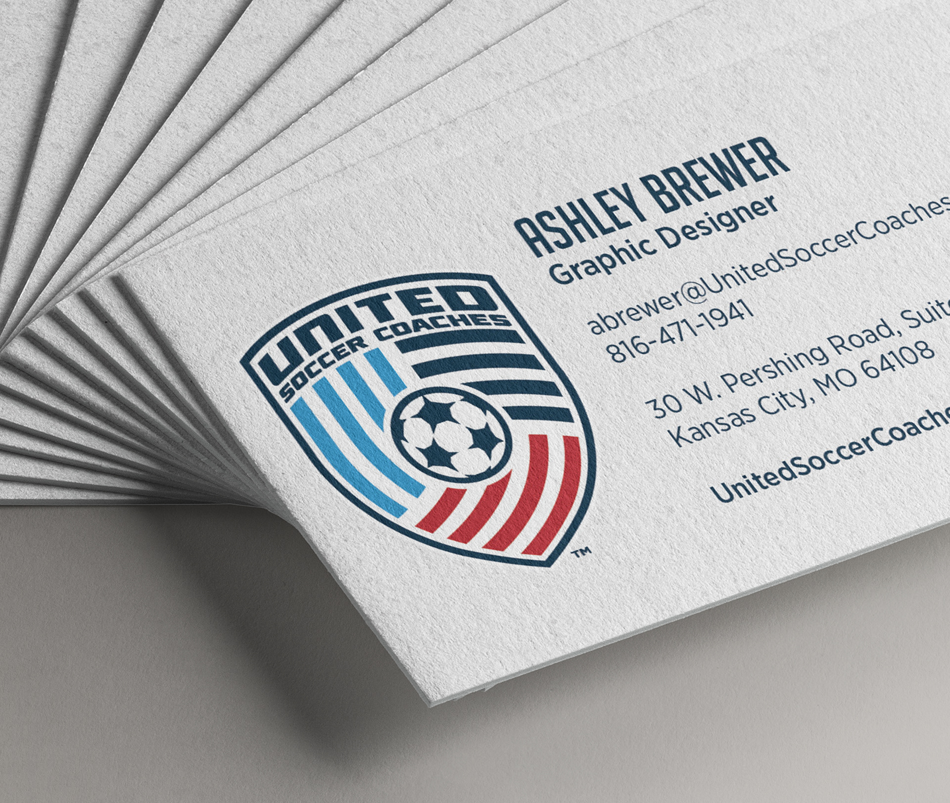 Ashley brewer united soccer coaches business cards the nscaa is now united soccer coaches we recently underwent an exciting brand overhaul which involved a new name and mark this is one of our new pieces colourmoves