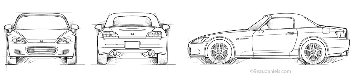 technical illustration beau and alan daniels honda s2000 diagrams