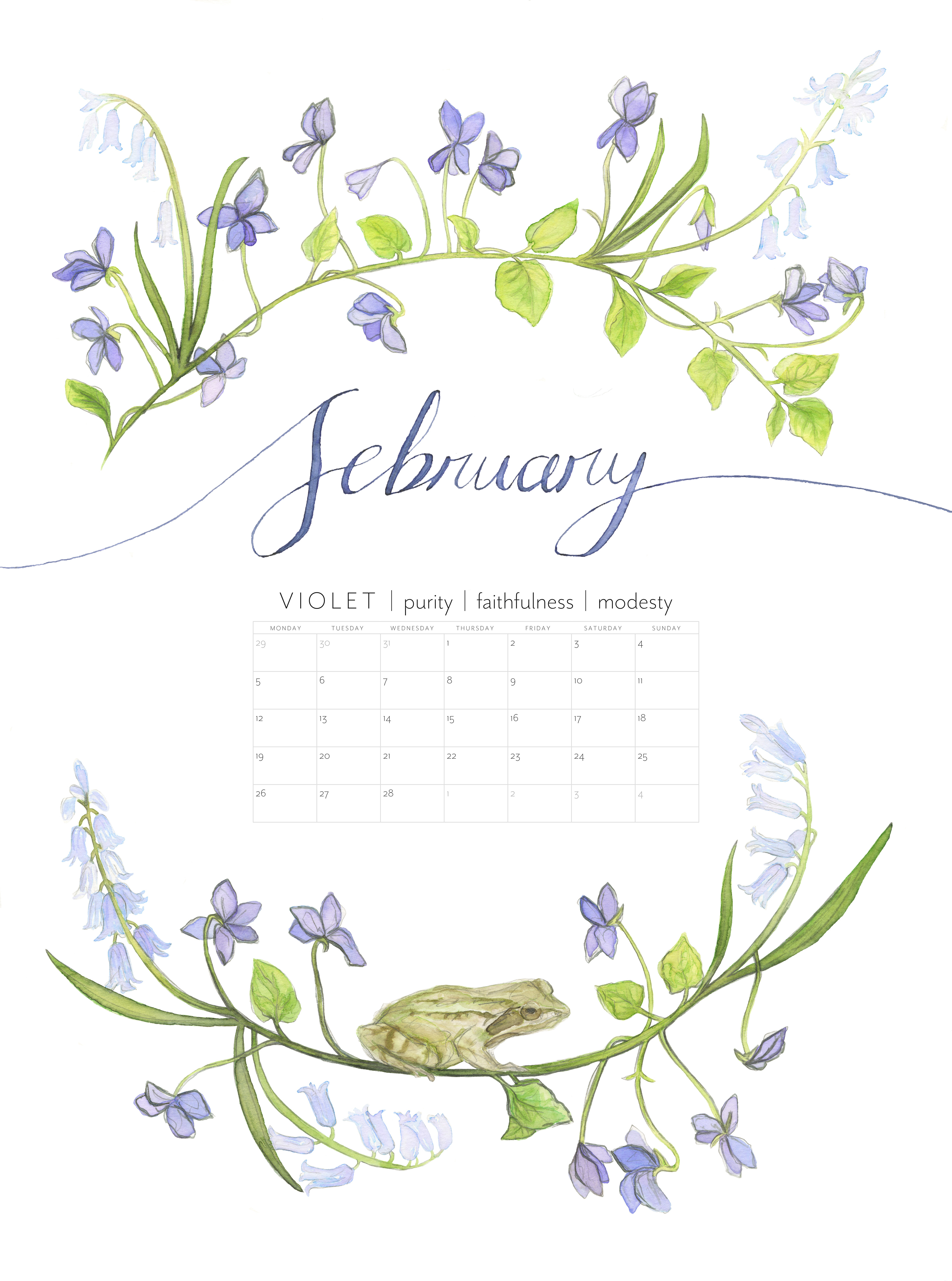 Christie illustration birth flowers wall calendar design for 2018 featuring the british birth flowers of each month and the meaning of the flower izmirmasajfo Images