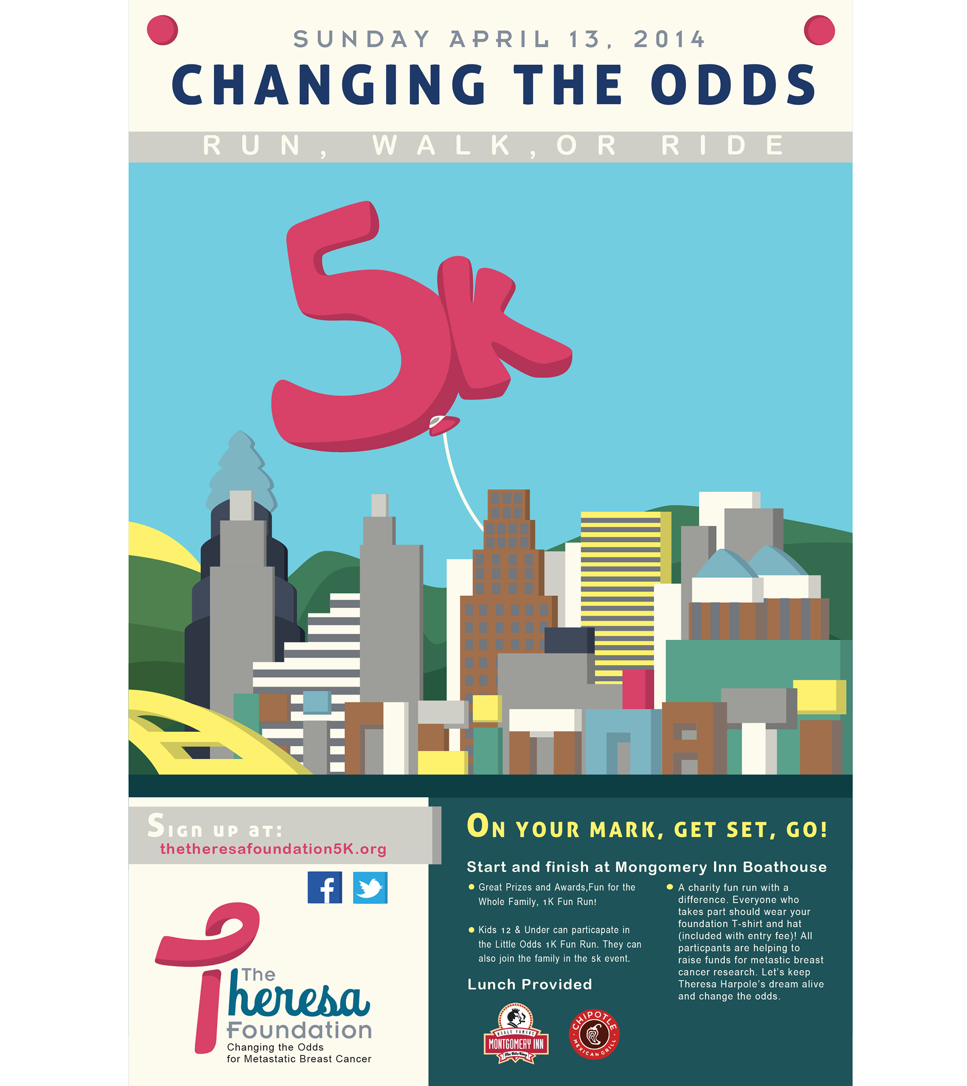 5k poster design - Applied The Theresa Foundation Brand Across A Poster Design Promoting A 5k Run In Cincinnati