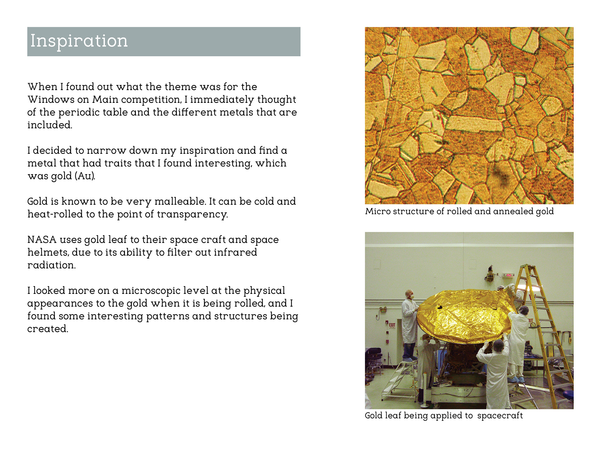 3d window installation representing the change in crystal structures during the annealing process of gold