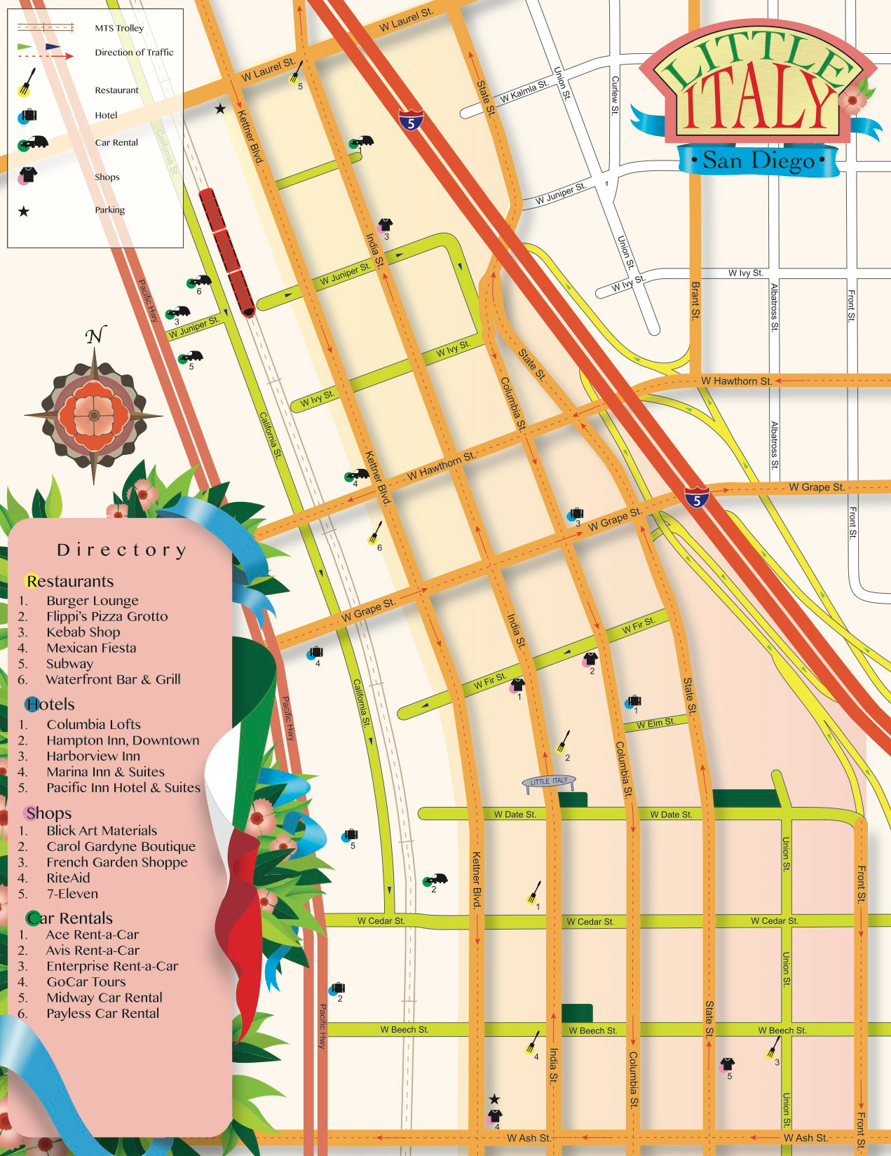 Little Italy San Diego Map.Andrea Valdez Map Of Little Italy