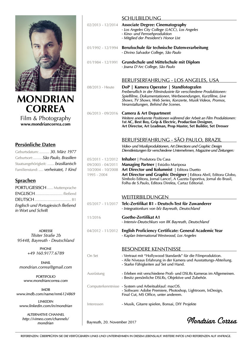 Mondrian Correa - Lebenslauf | DE
