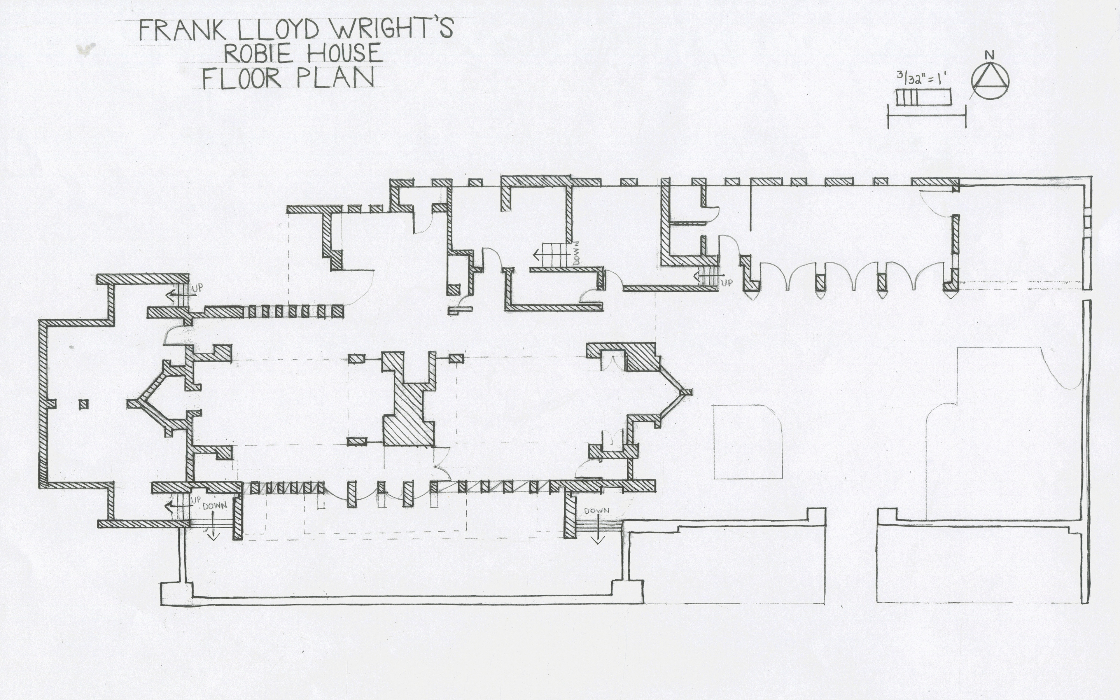 Floor Plan Elevation Section Perspective : Phoebe beachner robie house study