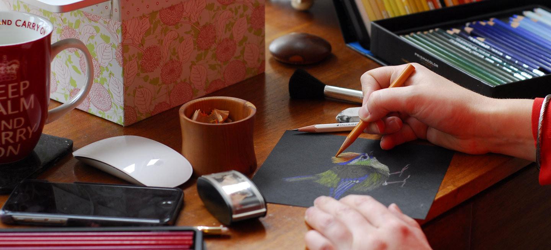 Photo of Jennifer Hawkyard working in her studio