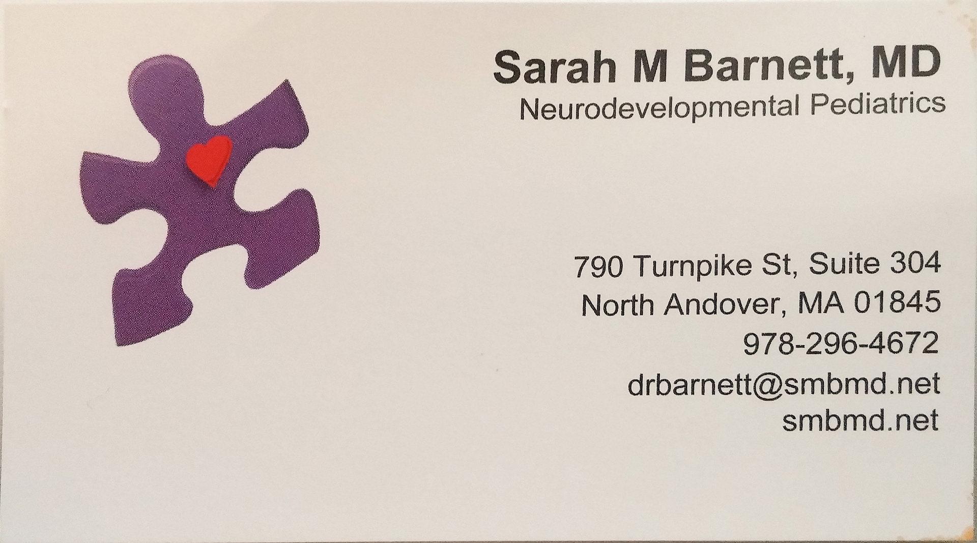 Ben kahan sarah m barnett md pllc business card design below is the first attempt at redesigning smbmds business card i took the logo the puzzle piece with the heart and created a color scheme using adobe colourmoves