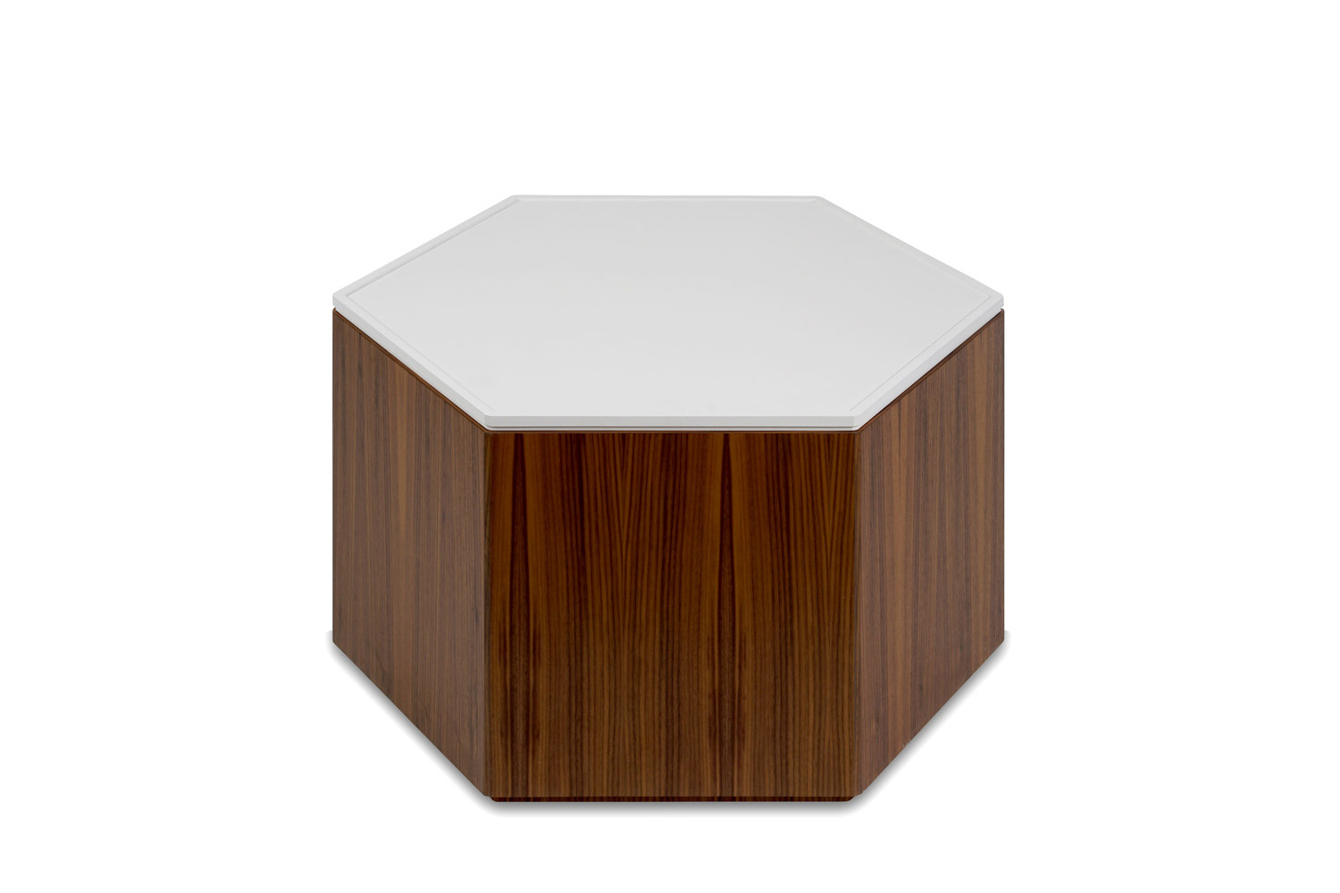 Matthew lechowick design polygon storage hexagon coffee table quartersawn american black walnut base with white top geotapseo Images